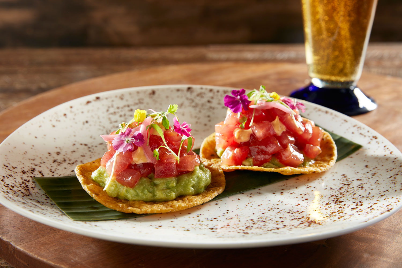 Yellowfin tuna guacamole asian fusion tostada from la quinta resort and club entertaining ideas bite size snacks