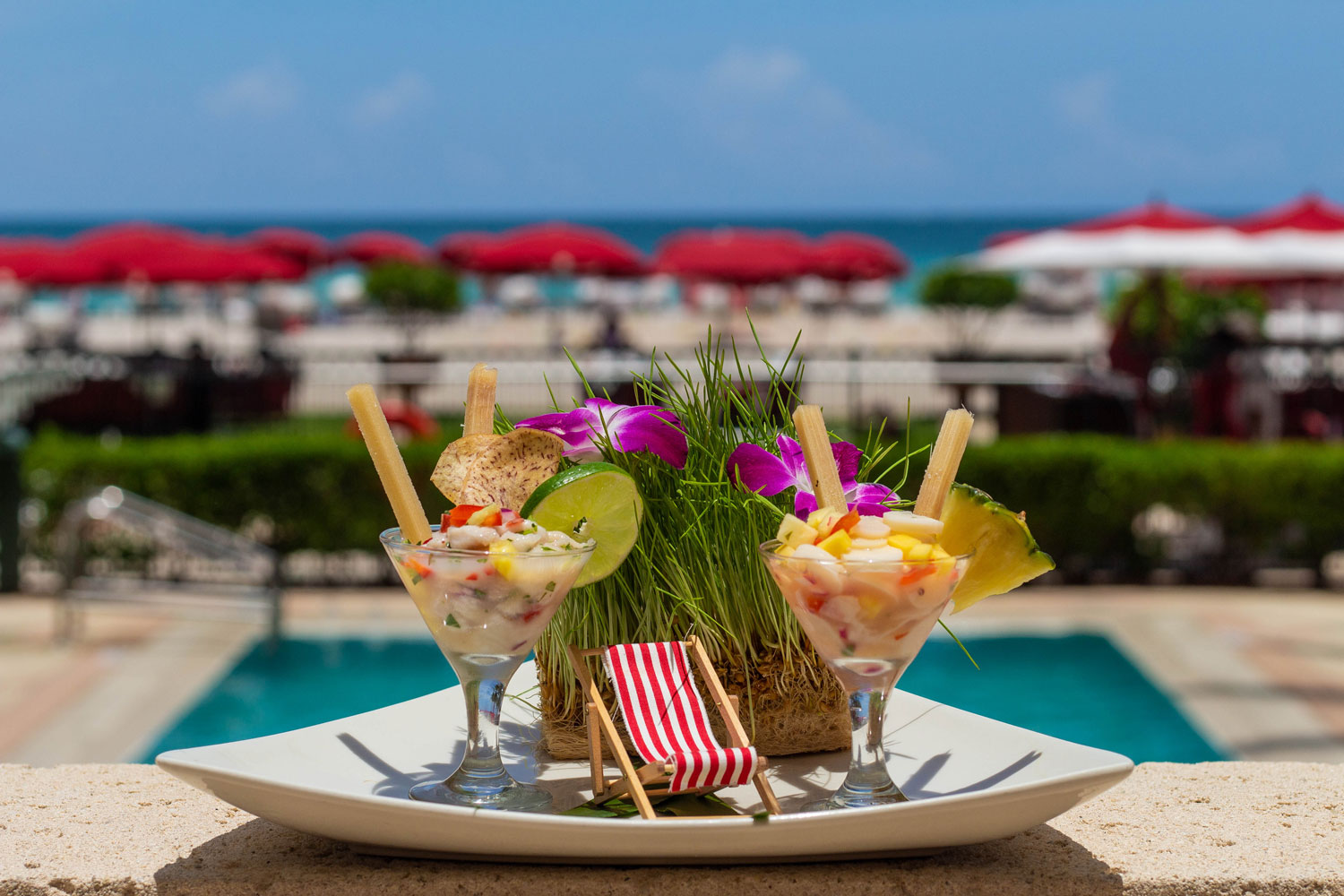 Pineapple mojito ceviche and vegan hearts of palm and mango ceviche gluten free acqualina resort and spa entertaining ideas