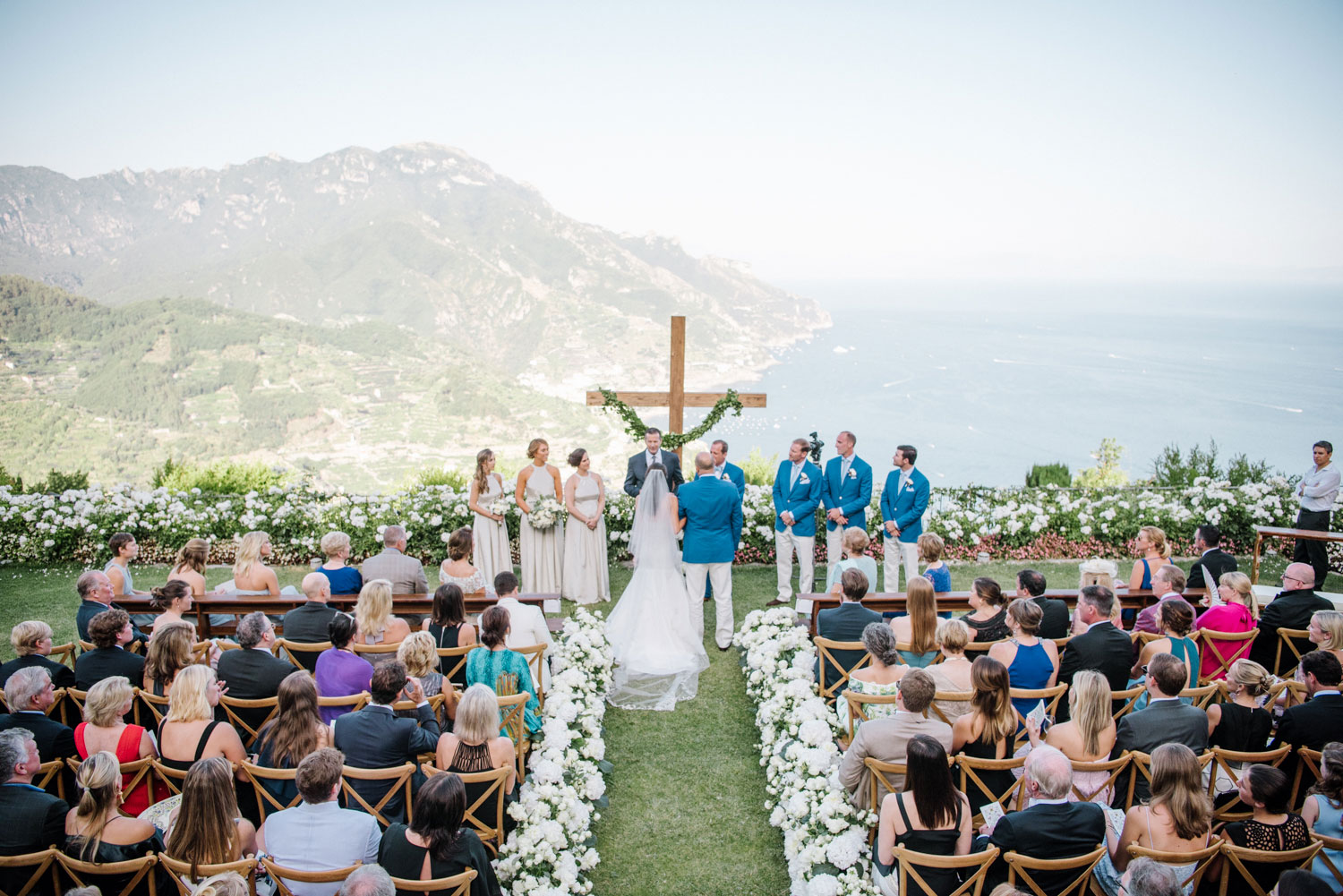 Outdoor wedding ceremony on bluff in italy amalfi coast coastal view