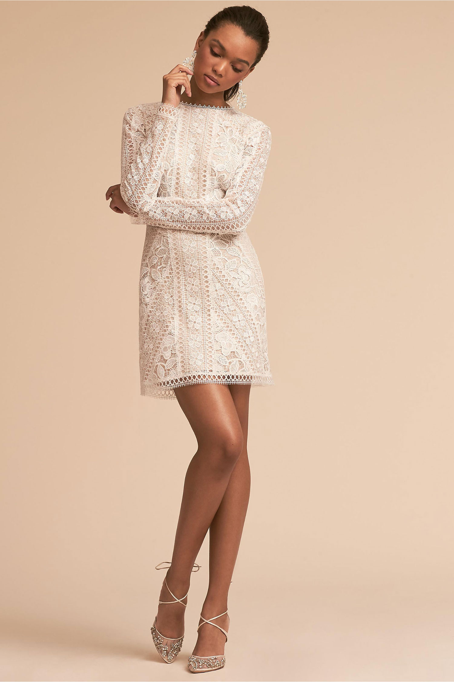 Cason long sleeve lace mini dress tadashi shoji bhldn rehearsal dinner bachelorette party bridal shower dress ideas
