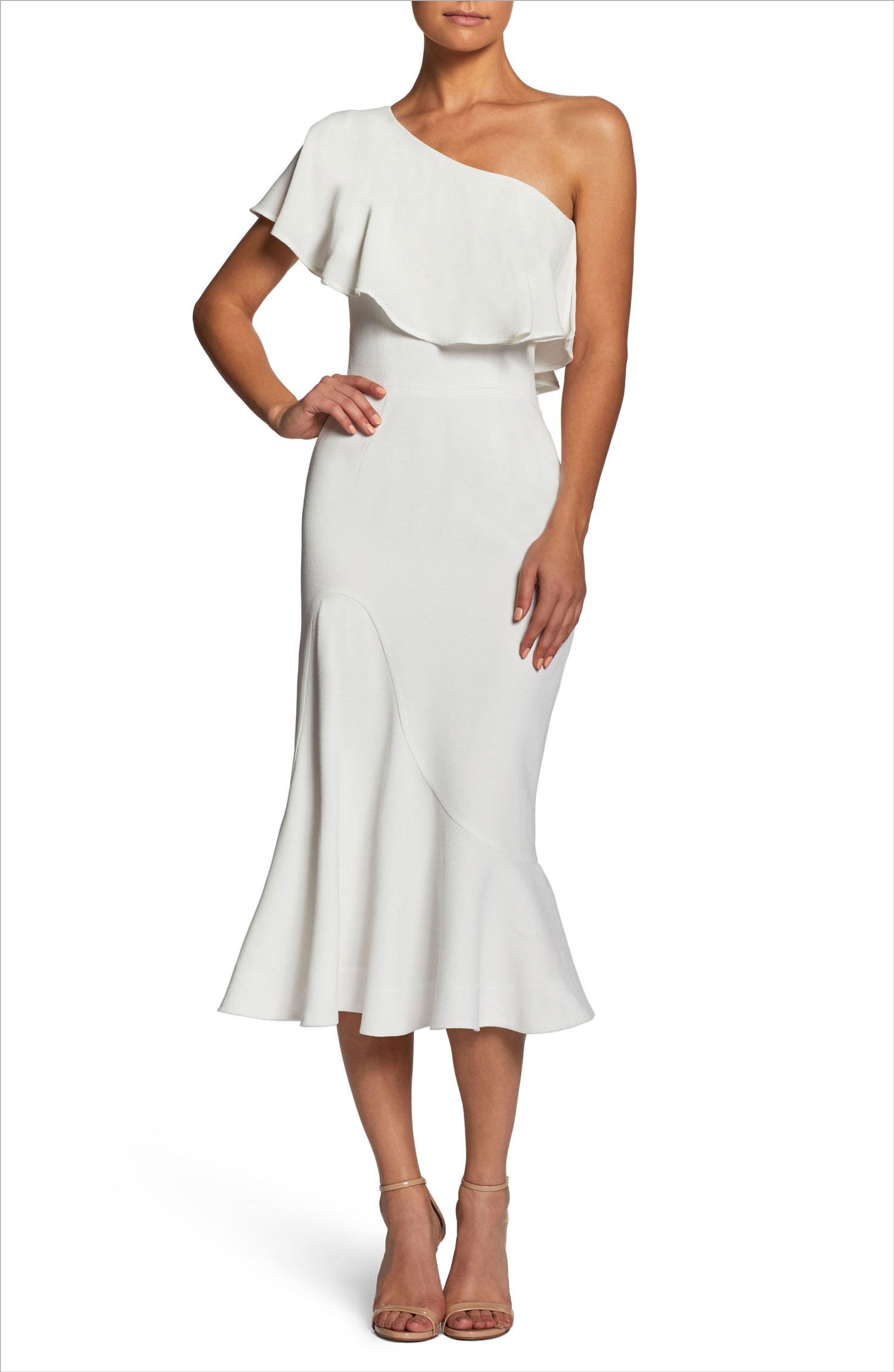 Raquel one shoulder trumpet dress dress the population nordstrom bridal shower dress ideas rehearsal dinner