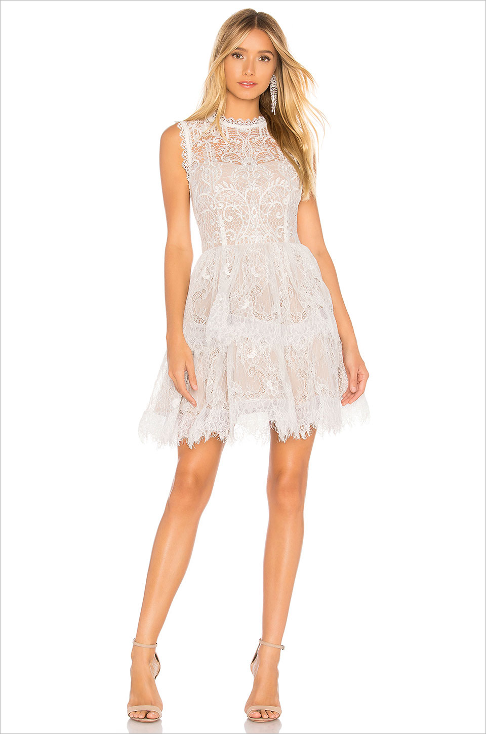 Florence white mini dress bronx banco lace high neck revolve bachelorette party bridal shower dress ideas