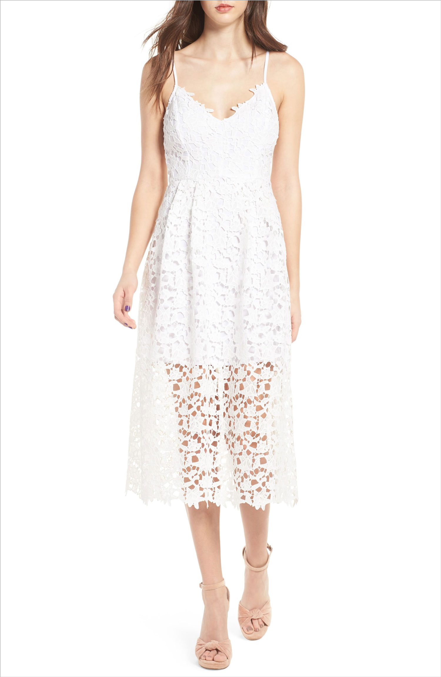 Lace white dress midi astr the label nordstrom bride bridal shower rehearsal dinner dress ideas