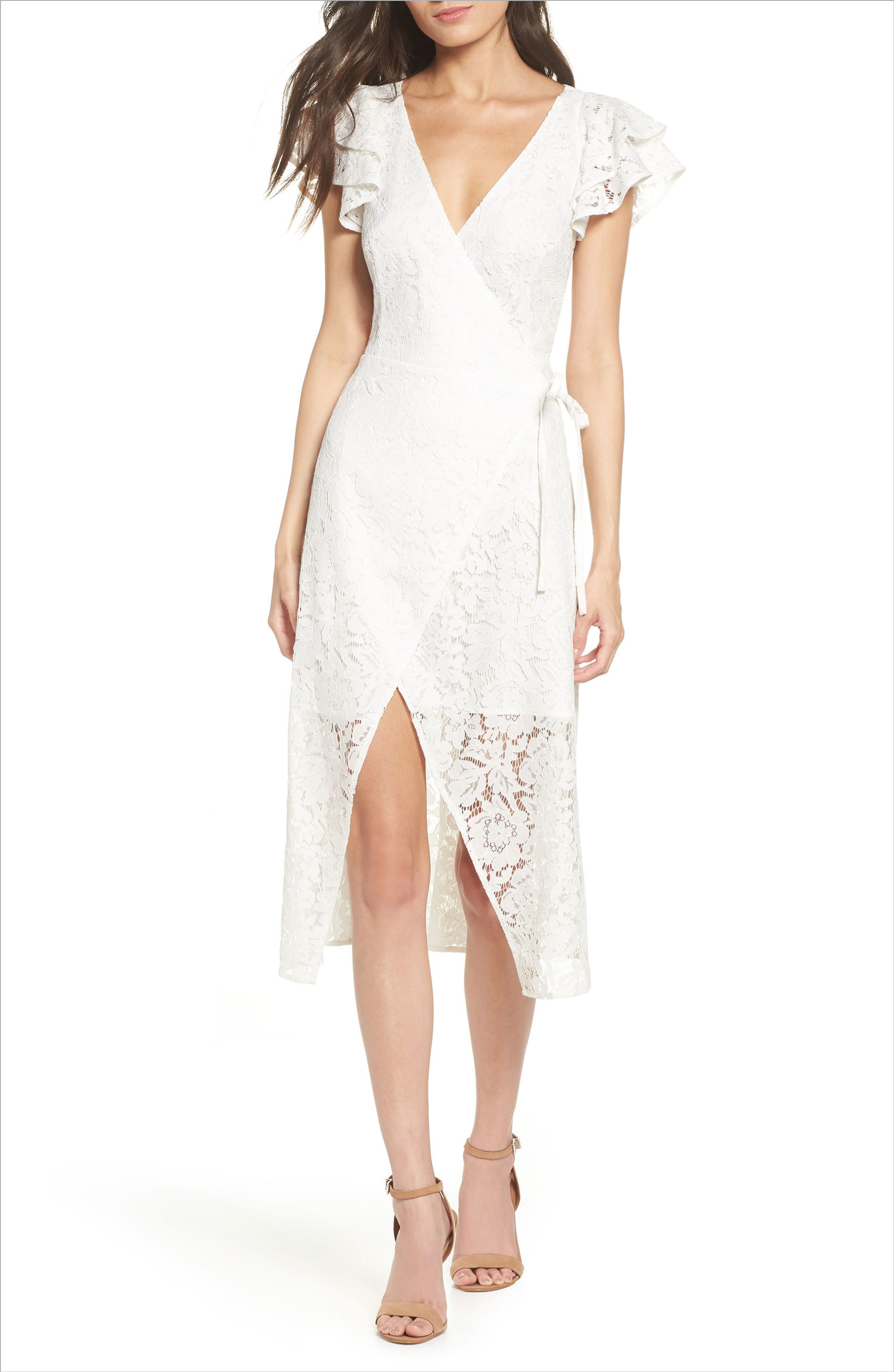 Lace and paper flowers wrap midi dress lace show me your mumu bridal shower dress ideas