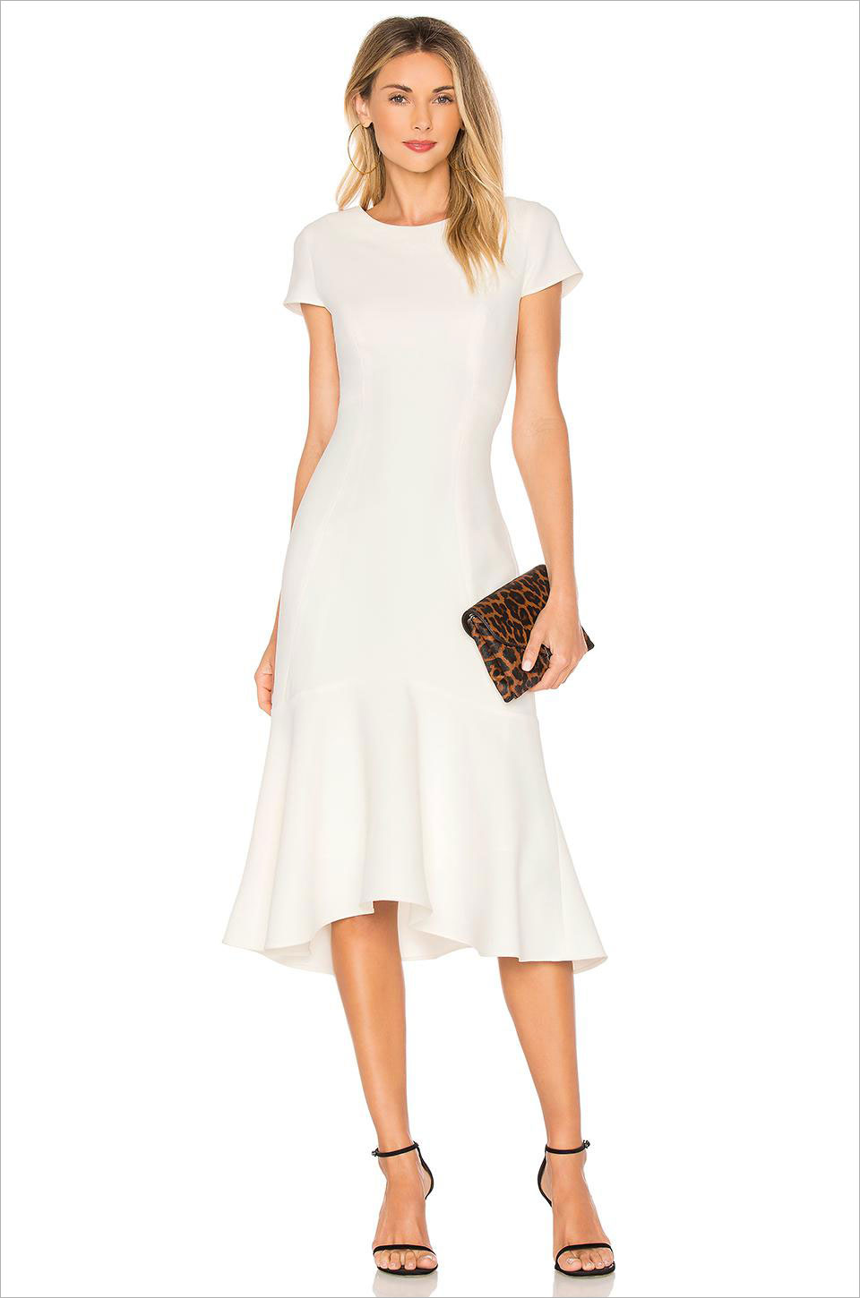 Evalina short sleeve white dress amanda uprichard rehearsal dinner bridal shower dress ideas