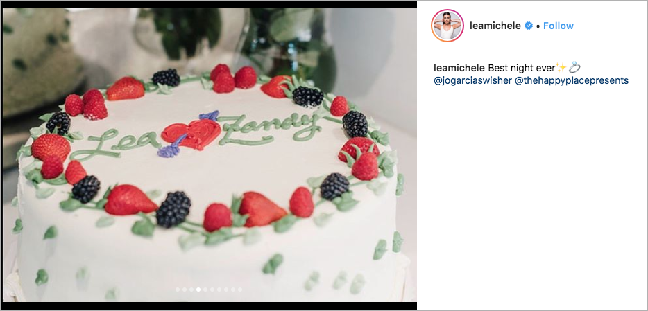 lea michele & zandy reich engagement party, sweet lady jane triple berry cake