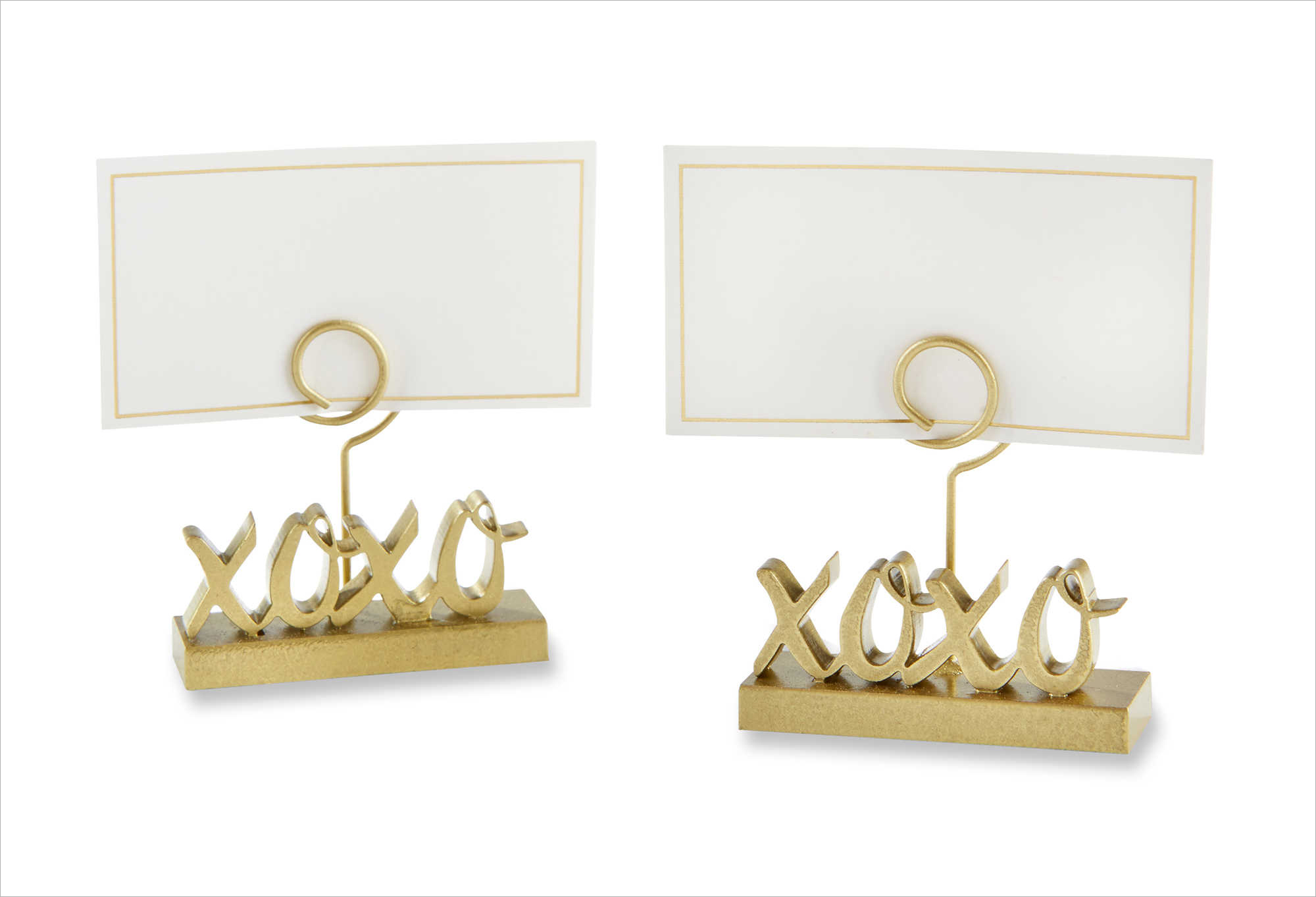Gold xoxo place card holder bed bath and beyond bachelorette party bridal shower wedding event party accessories ideas