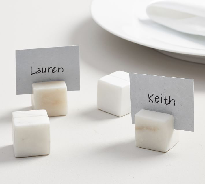 White marble square place card holder pottery barn wedding party event ideas accessories
