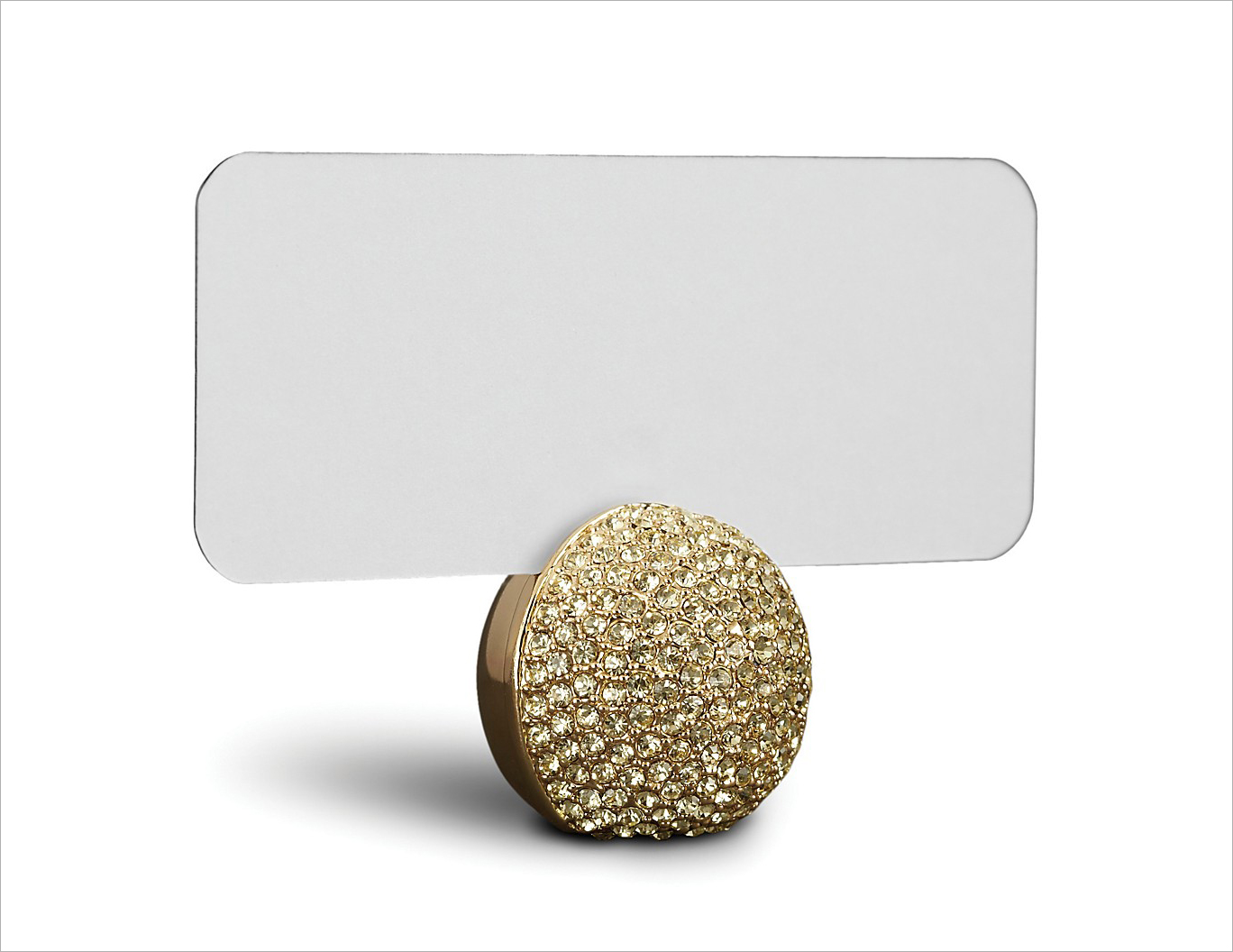 Gold crystal pave sphere place card holder l'objet bloomingdale's fancy wedding party event accessories ideas