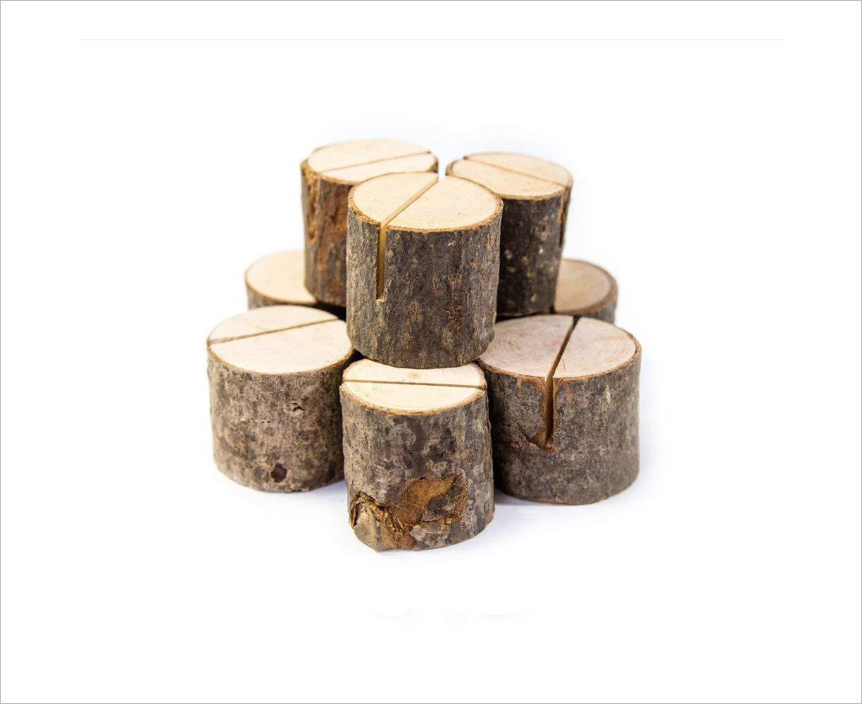 Rustic wood bark place card holders amazon rustic wedding party event ideas accessories