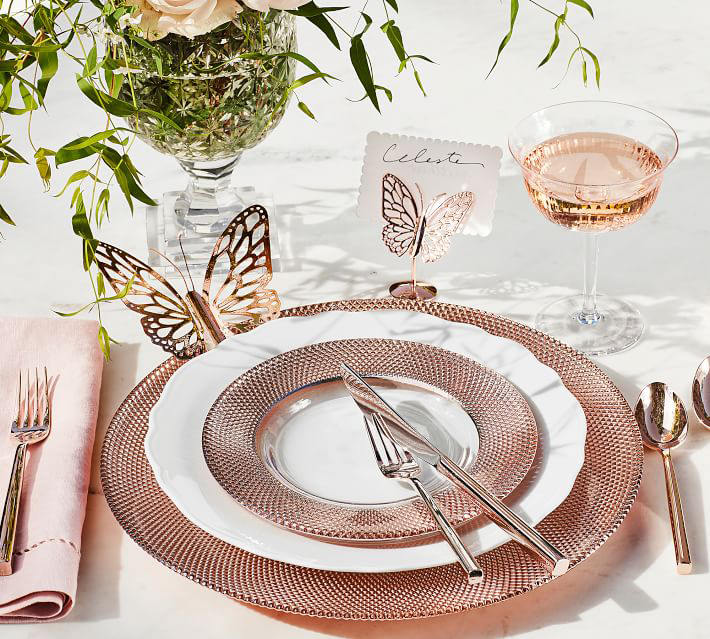 Monique Lhuillier papillon butterfly place card holder pottery barn rose gold wedding event party accessories