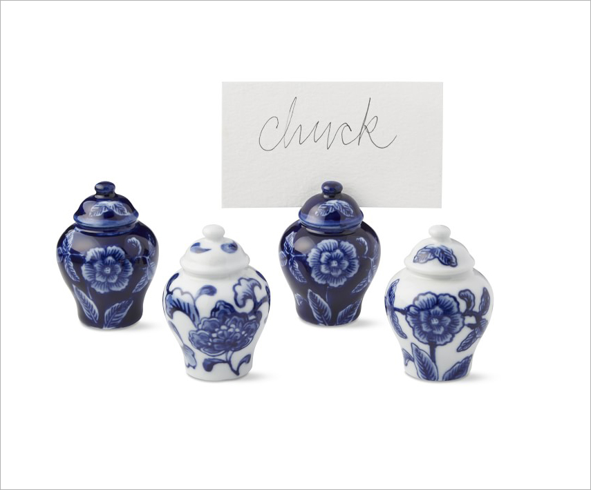 Blue and white ginger jar place card holders williams sonoma wedding party event accessories southern theme