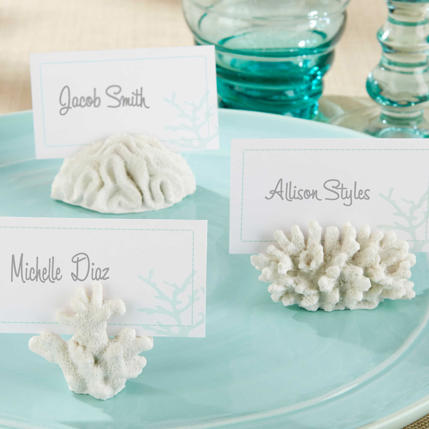 Coral shape place card holders entertaining wedding party tropical theme
