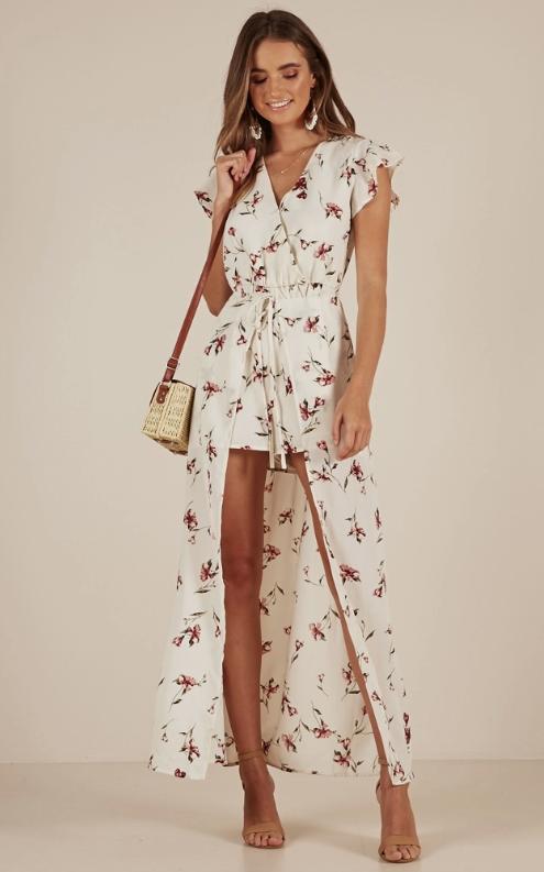 Floral maxi romper dress showpo honeymoon outfit ideas