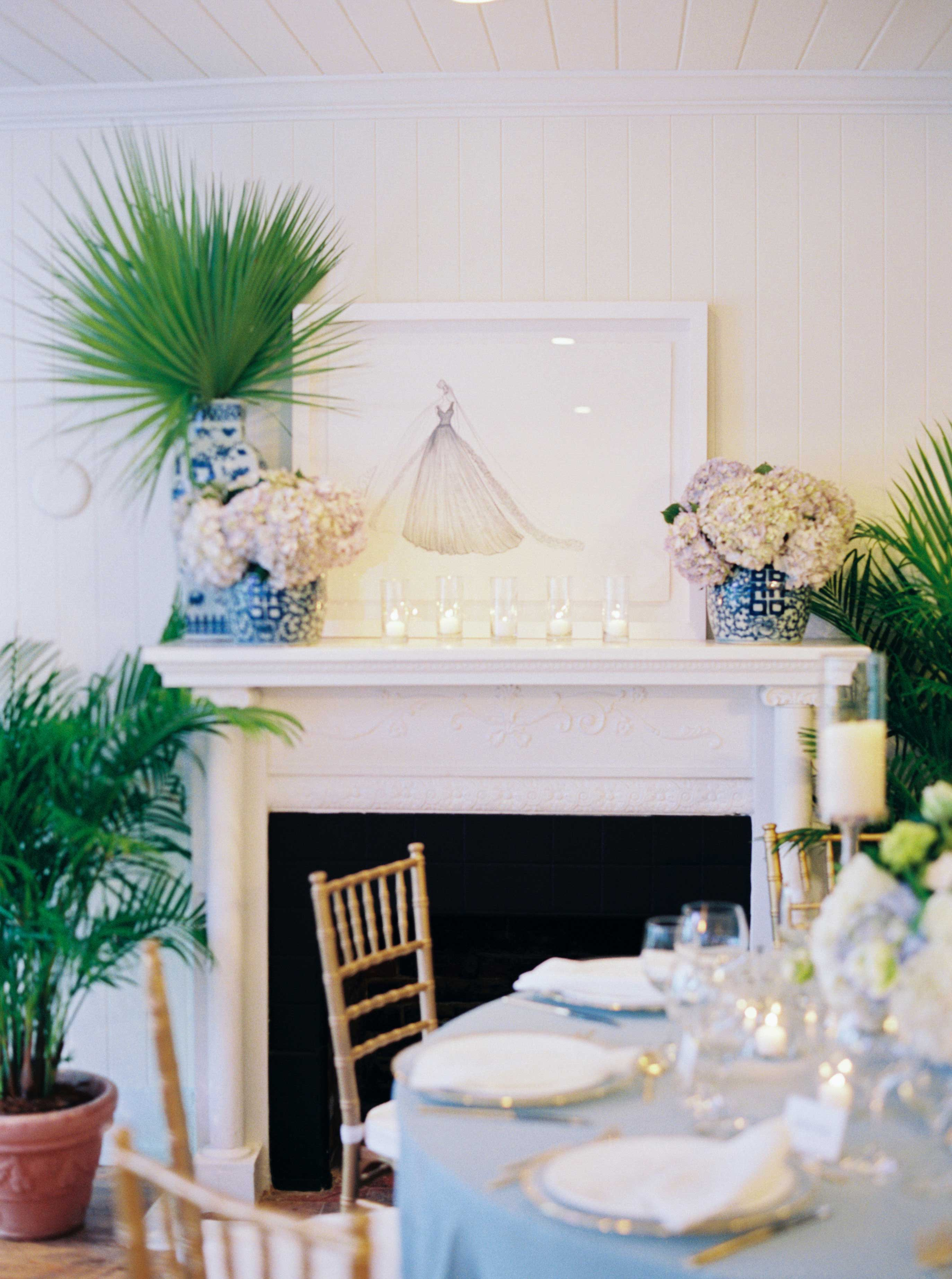 Wedding reception intimate fireplace sketch blue and white ginger jar vase chinoiserie decor