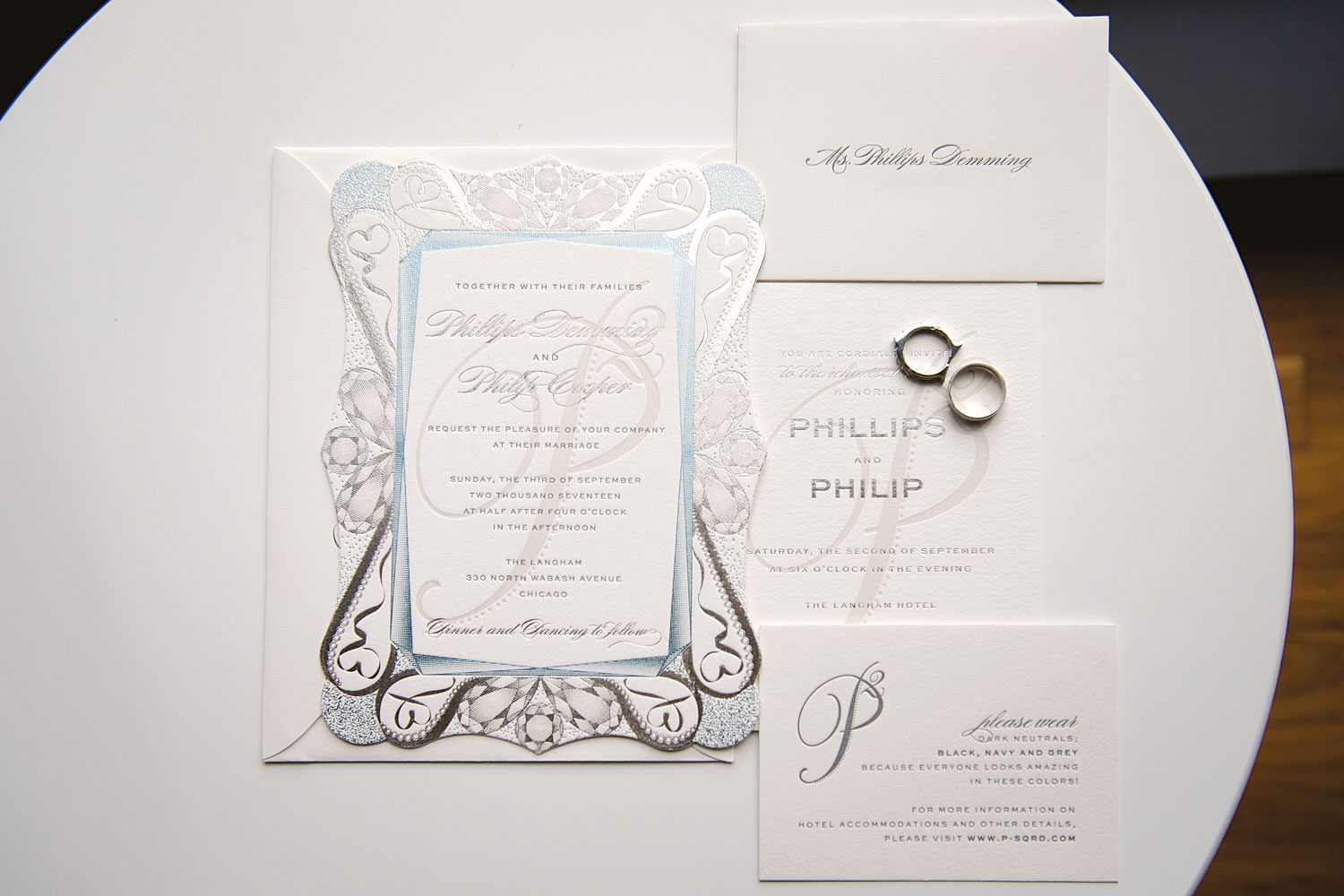 White silver and blue wedding invitation suite elizabeth grace Inside Weddings fall 2018 issue