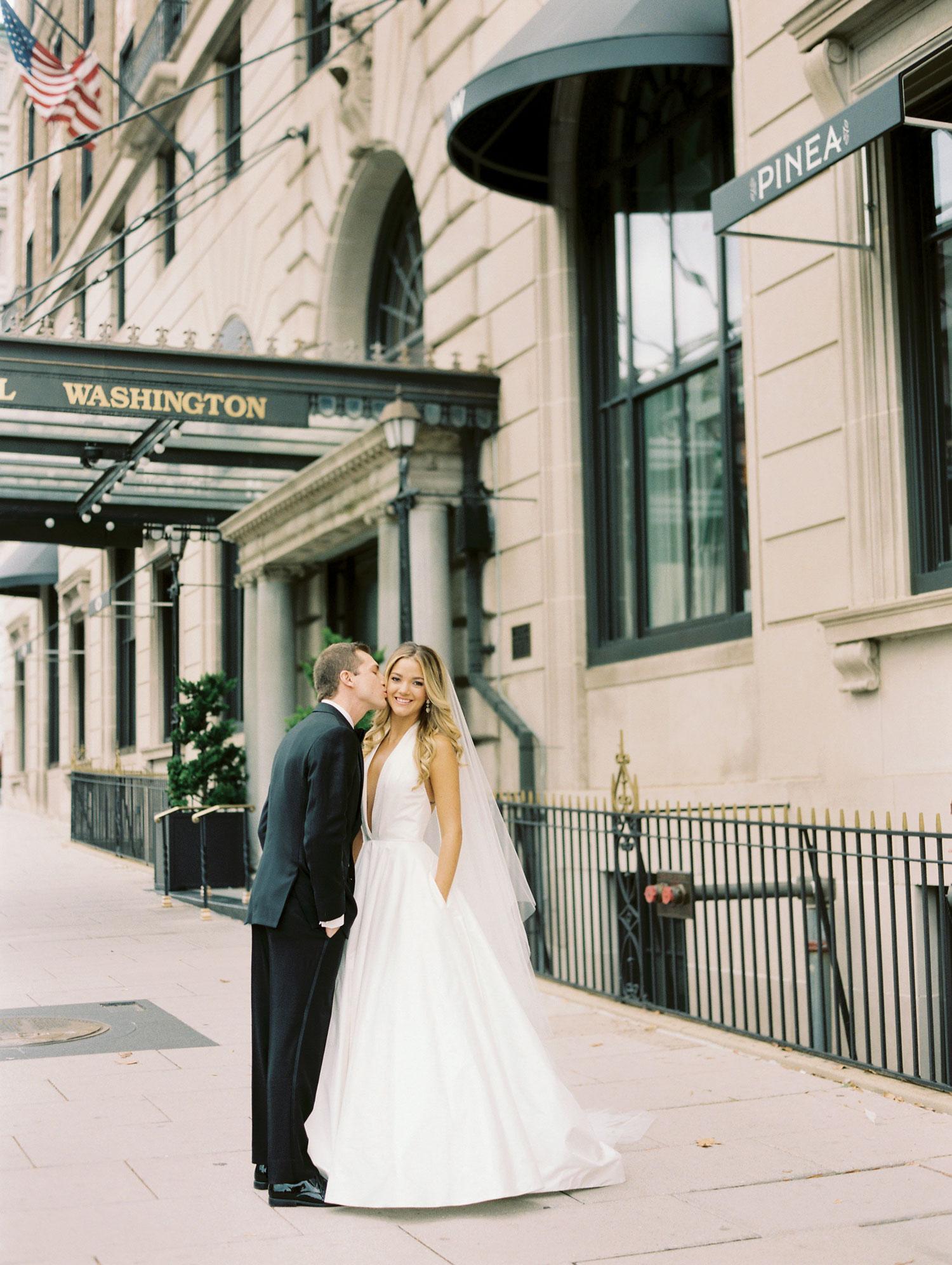 Bride in deep v neck wedding dress romona keveza from carine's bridal atelier Inside Weddings fall 2018 issue