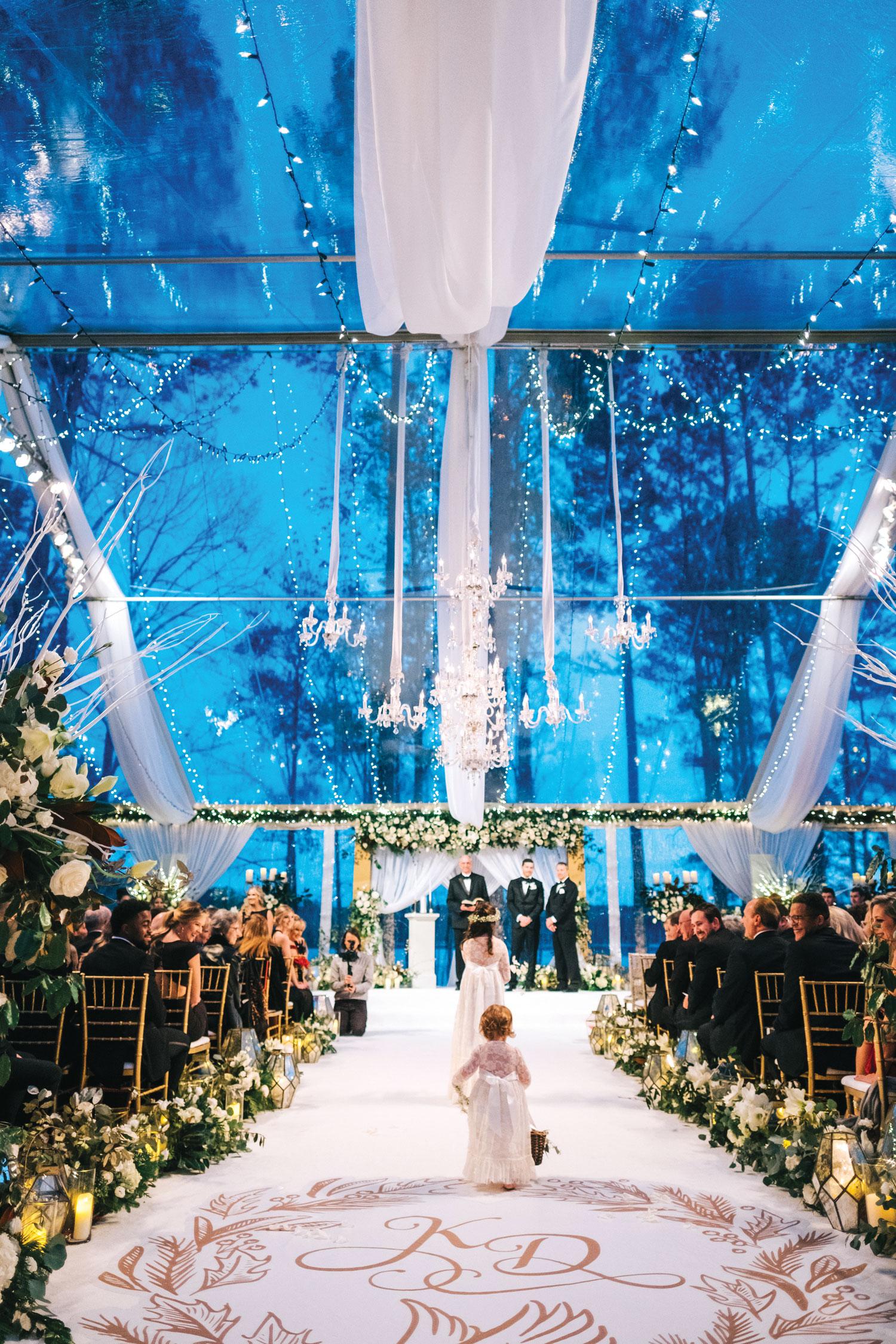 Original Runner Company aisle winter wedding christmas decor suzanne reinhard events Inside Weddings fall 2018 issue