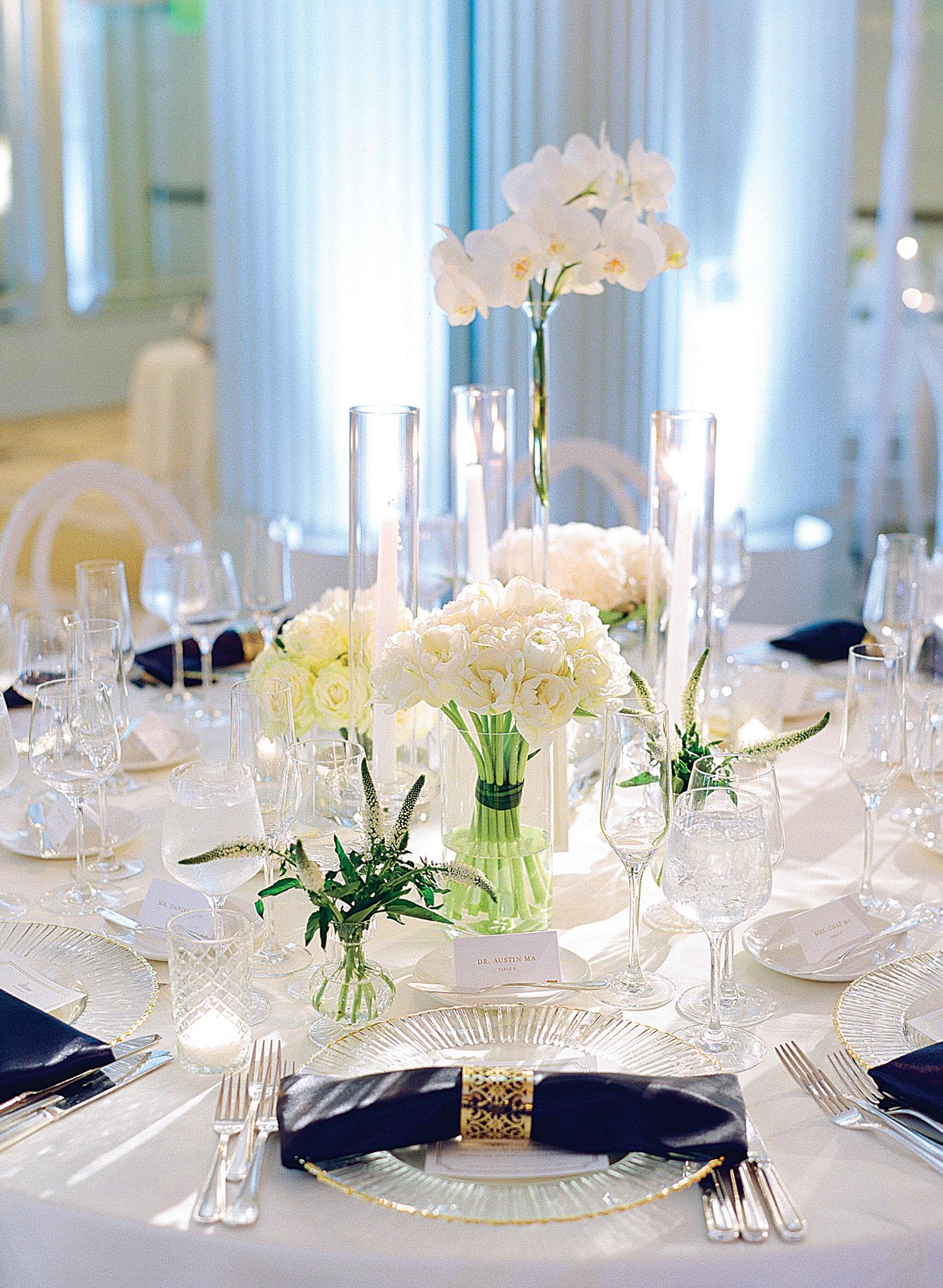 White clear blue gold wedding reception tessa lyn events Inside Weddings fall 2018 issue