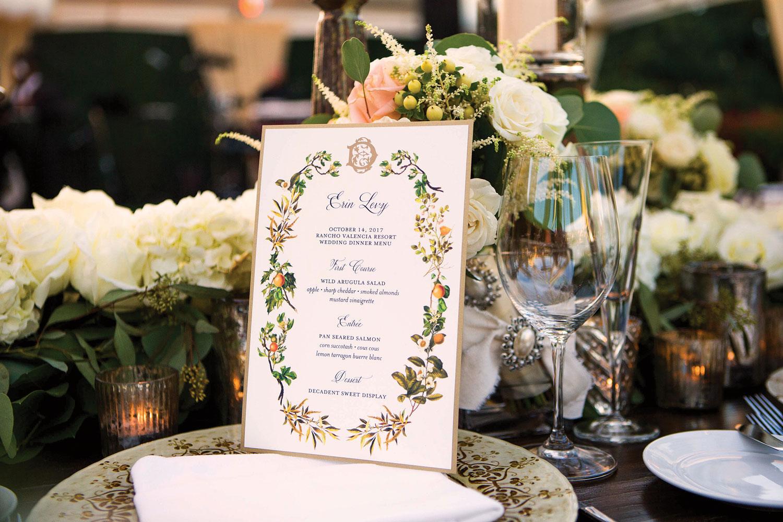 Wedding reception menu card san diego wedding paul barnett photography Inside Weddings fall 2018 issue