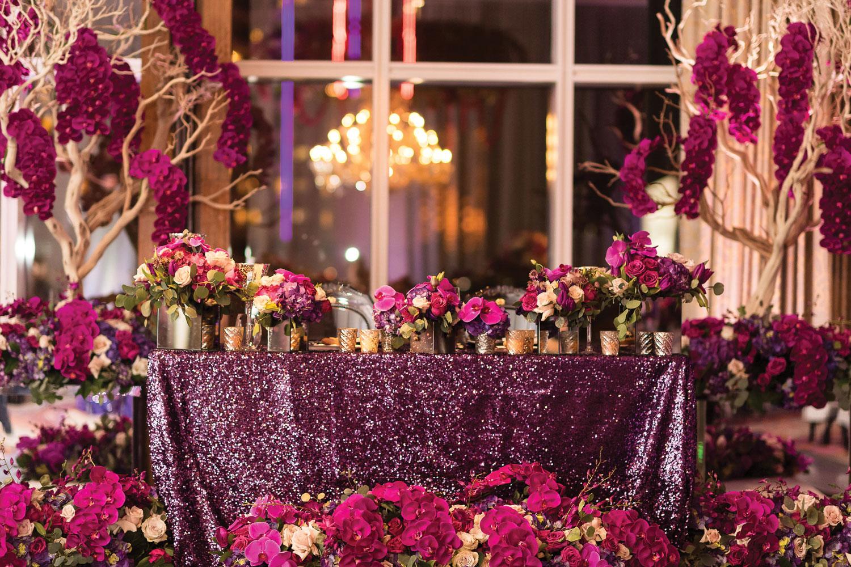 Purple sparkle wedding in Las Vegas andrea eppolito events Inside Weddings fall 2018 issue