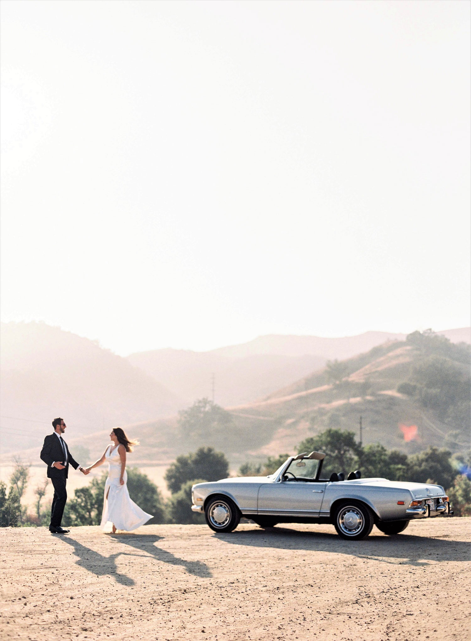 Engagement shoot photo ideas malibu classic car vintage mustang convertible