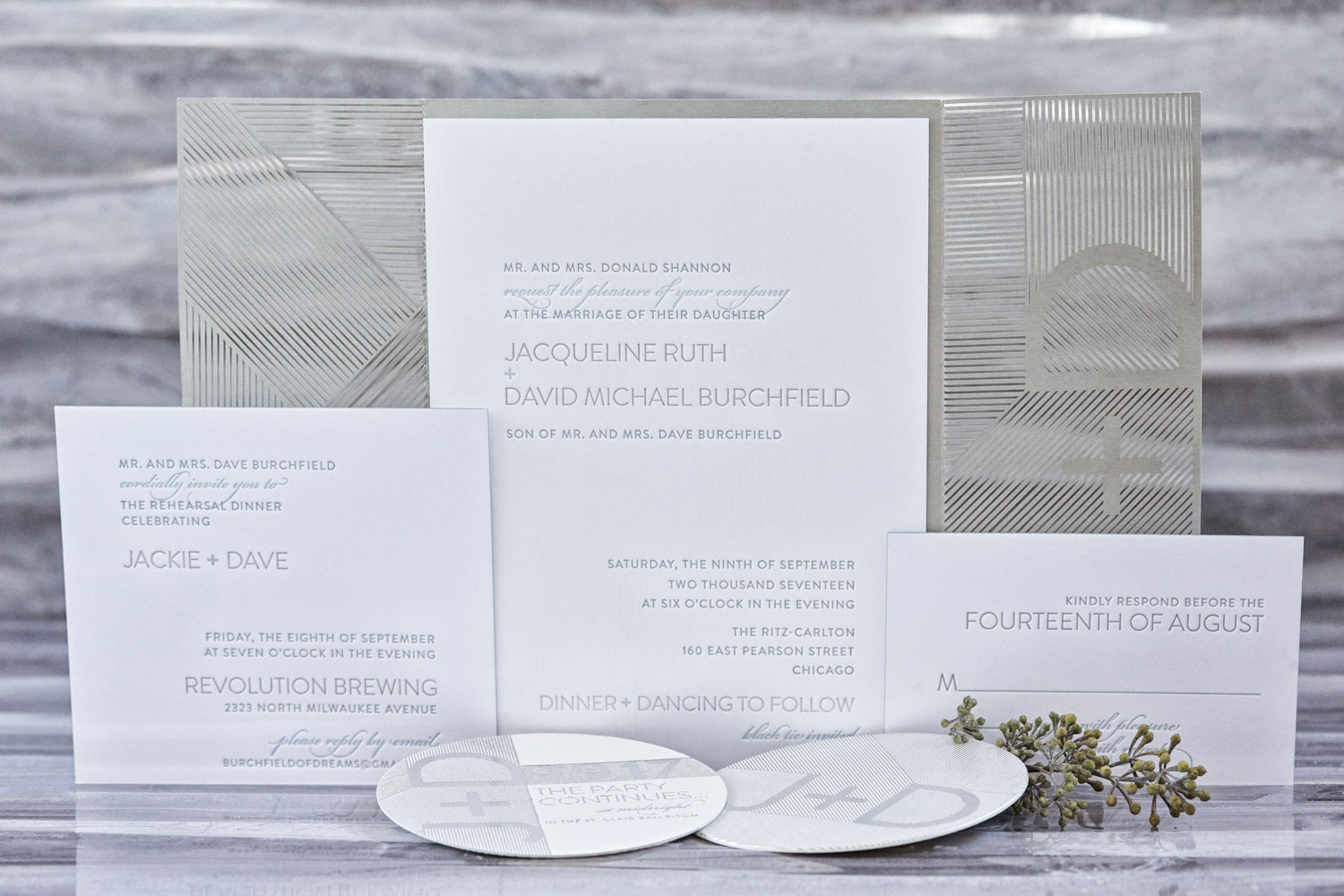 Simple sophisticated wedding invitation white silver grey light blue elizabeth grace