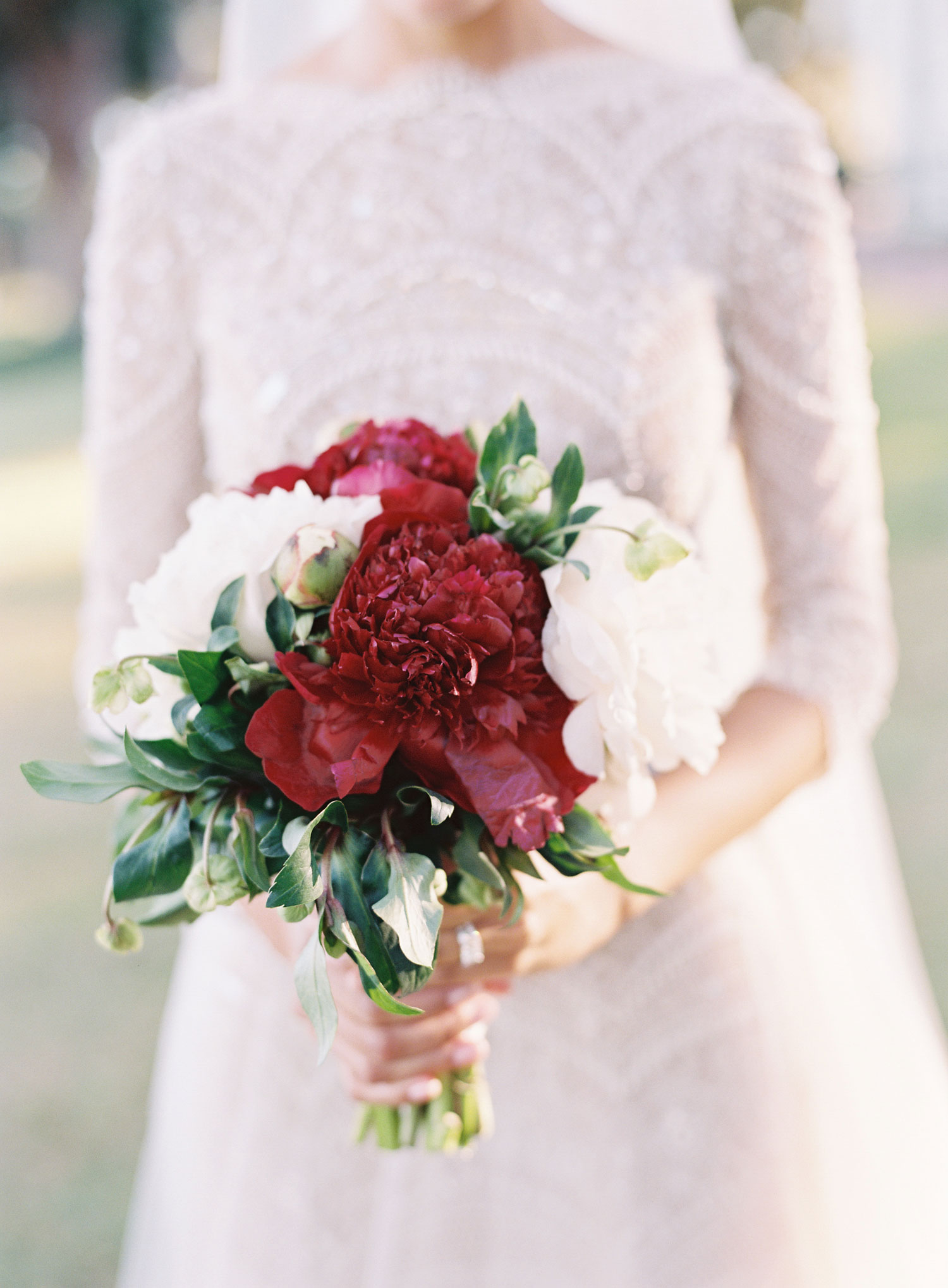 Small wedding bouquet for fall wedding peony flowers burgundy white