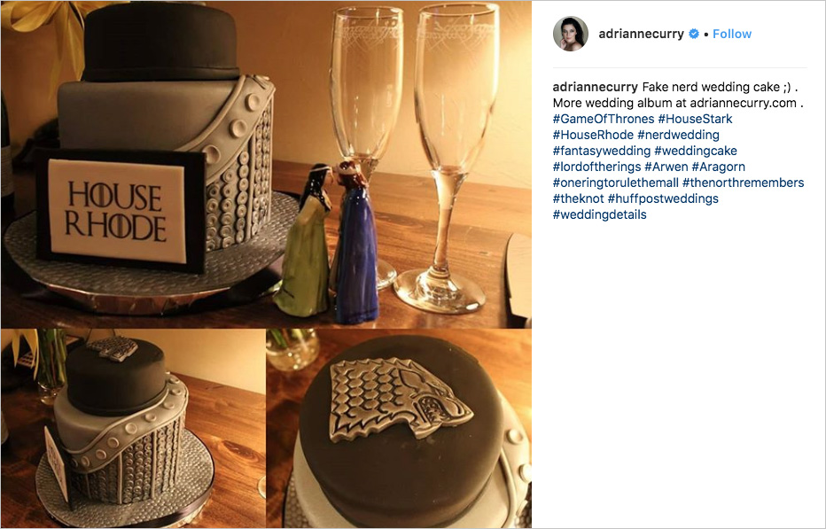 adrianne curry game of thrones elopement, game of thrones cake, house stark wedding cake