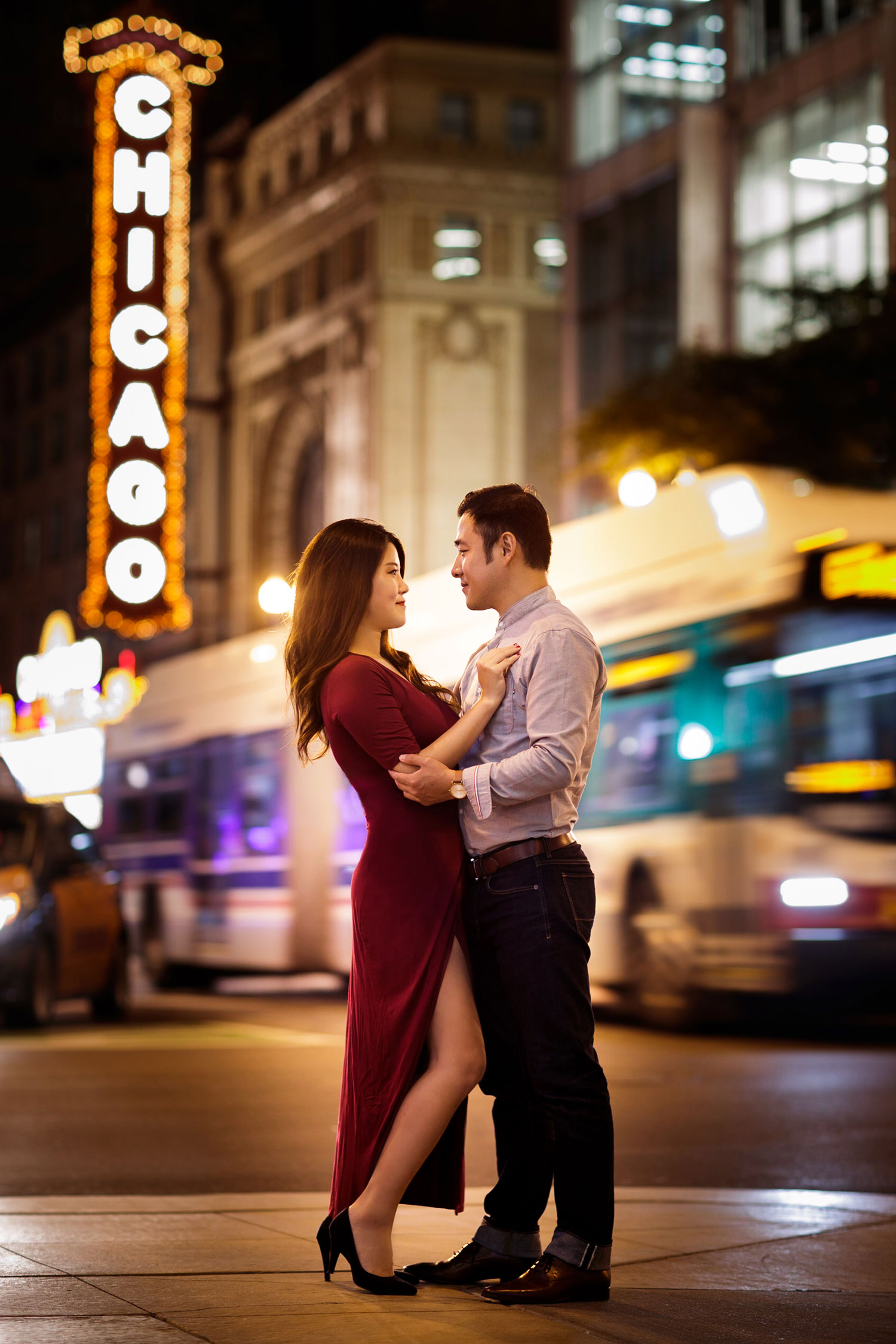 Engagement shoot in Chicago e-session chicago theatre theater high slit dress
