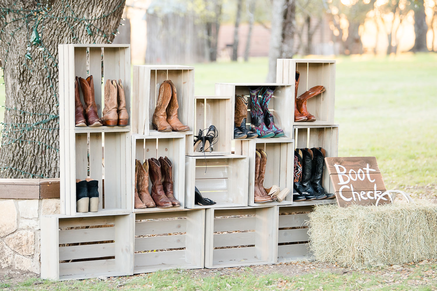 Boot check at texas wedding ceremony reception dfw events