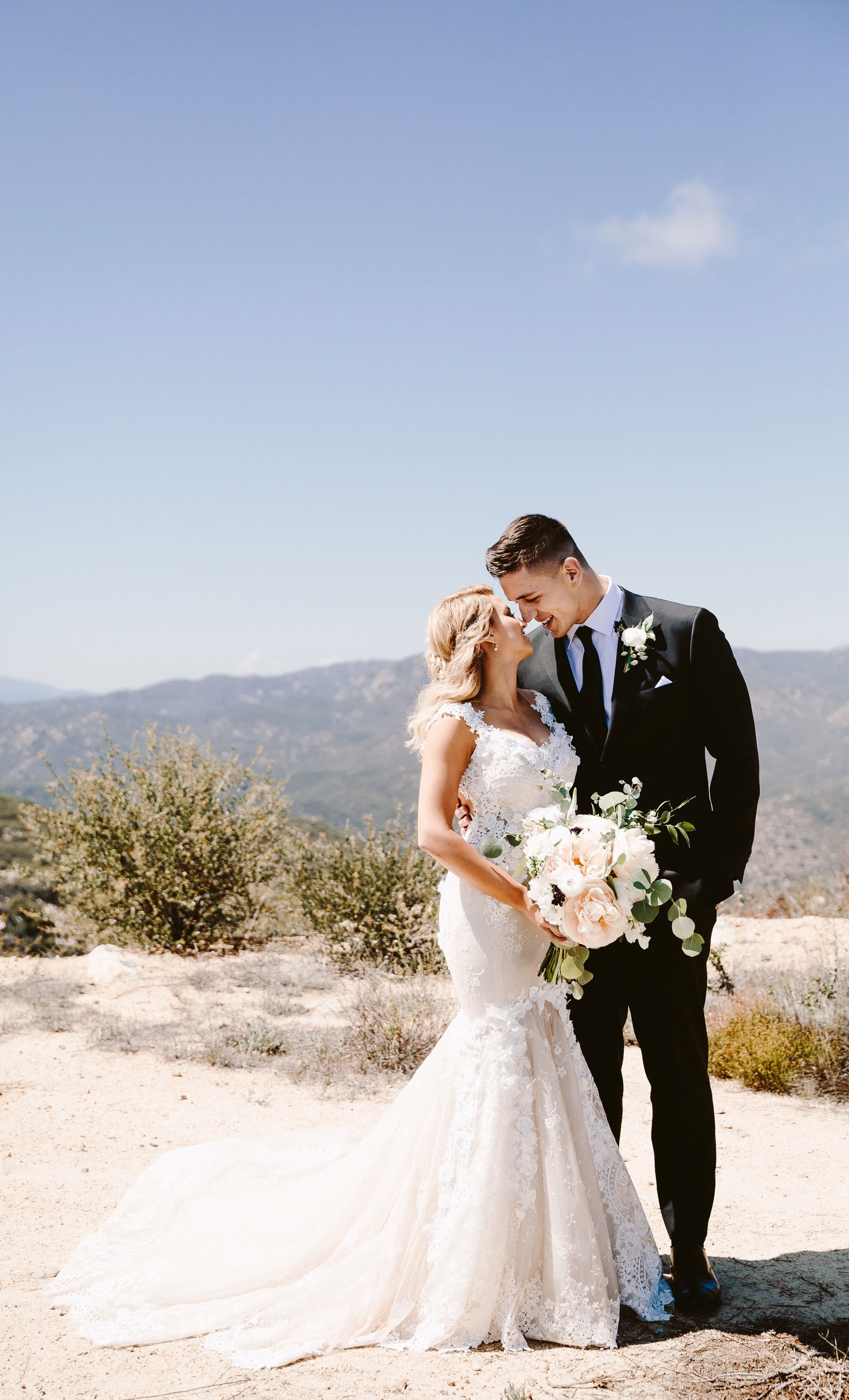 Real bride in Galia Lahav wedding dress Tori Kelly in trumpet mermaid wedding dress with groom Andre Murillo
