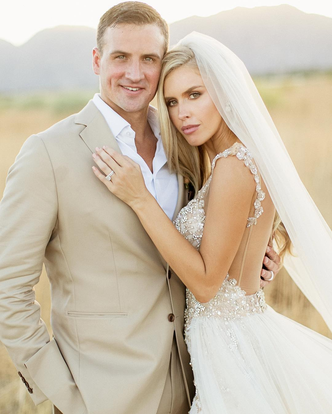 Real bride in Galia Lahav wedding dress Kayla Rae Reid bride Ryan Lochte olympic swimmer