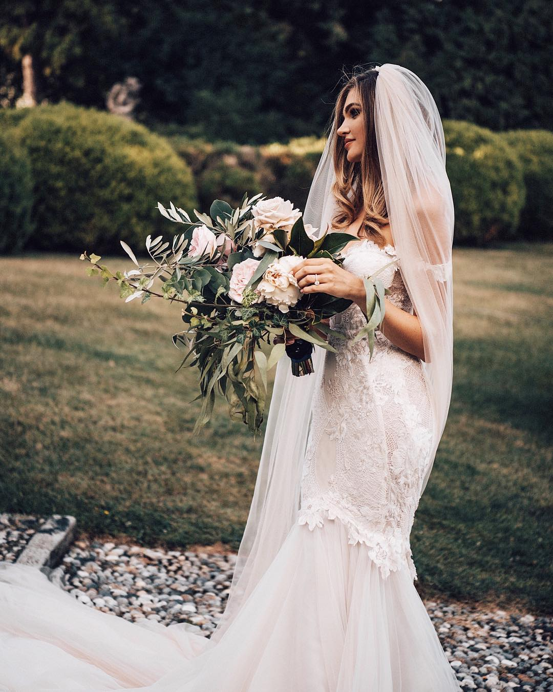 Real bride in Galia Lahav wedding dress off shoulder mermaid wedding dress veil