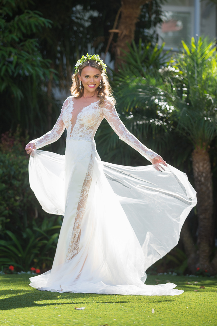 Real bride in Galia Lahav wedding dress long sleeve sheer panel lace plunging neckline