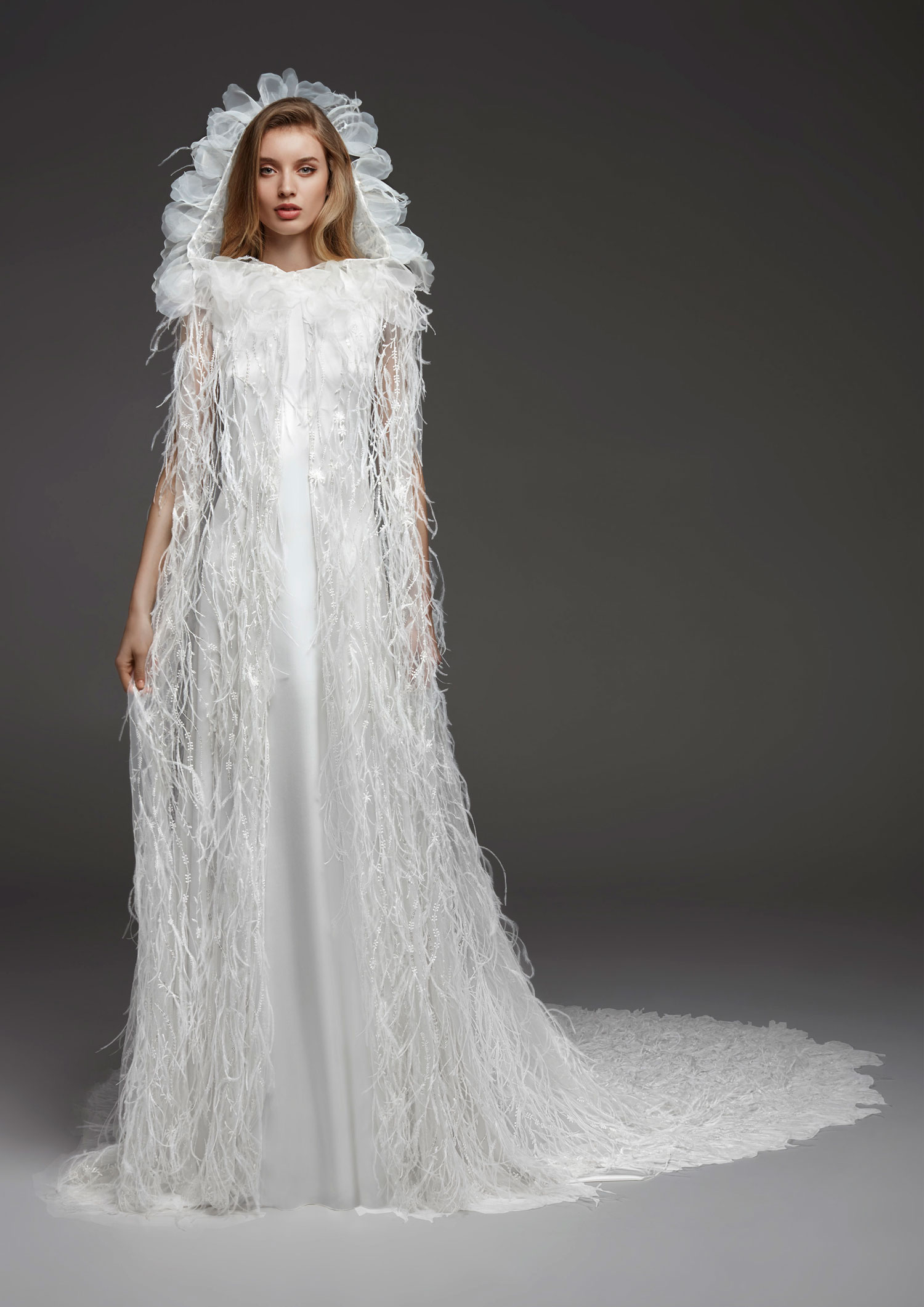 Halloween inspired wedding dress with cape hood Atelier Pronovias fall 2019