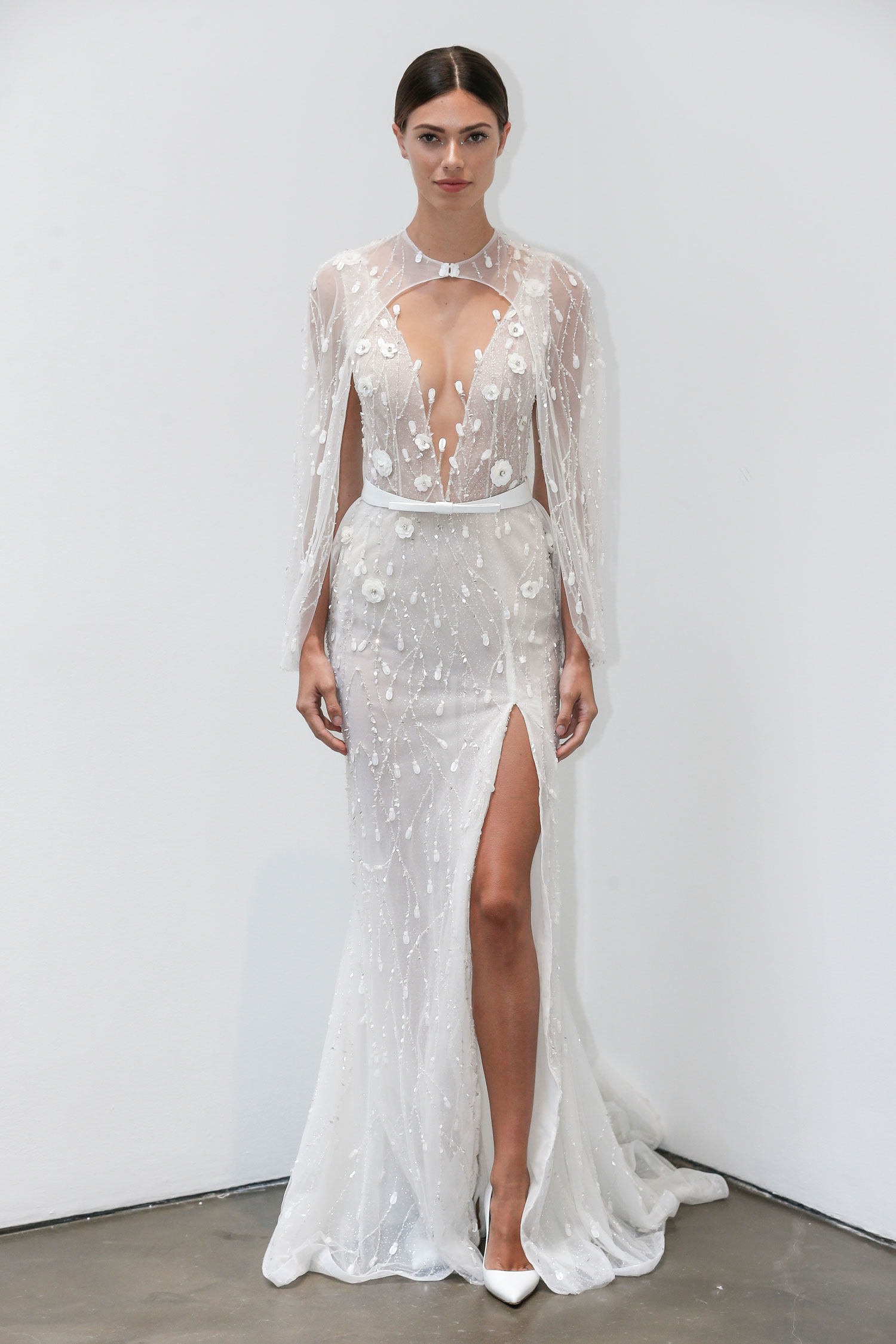 Halloween-inspired wedding dress with cape Lee Petra Grebenau fall 2019