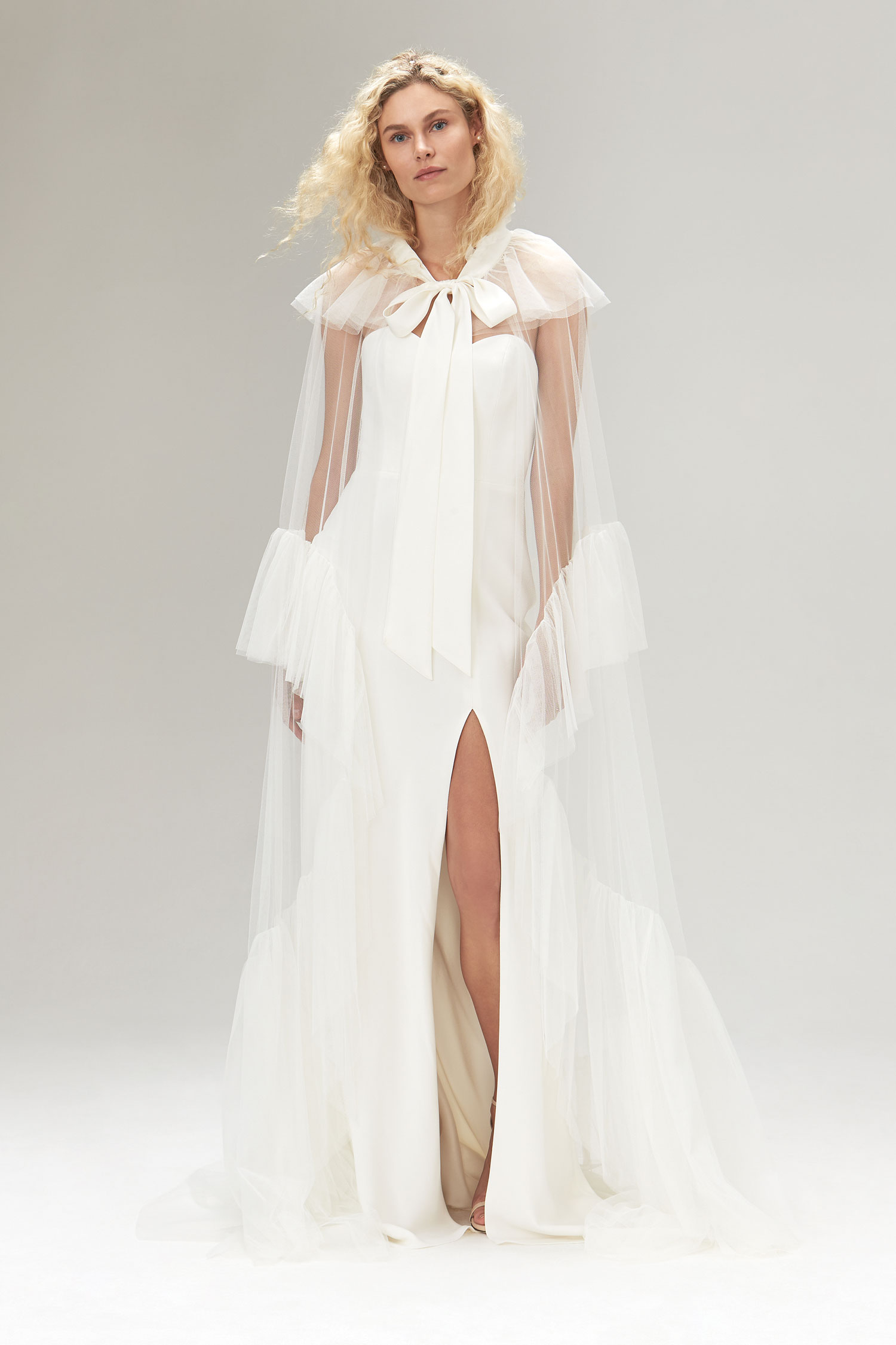 Halloween-inspired wedding dress with cape Savannah Miller