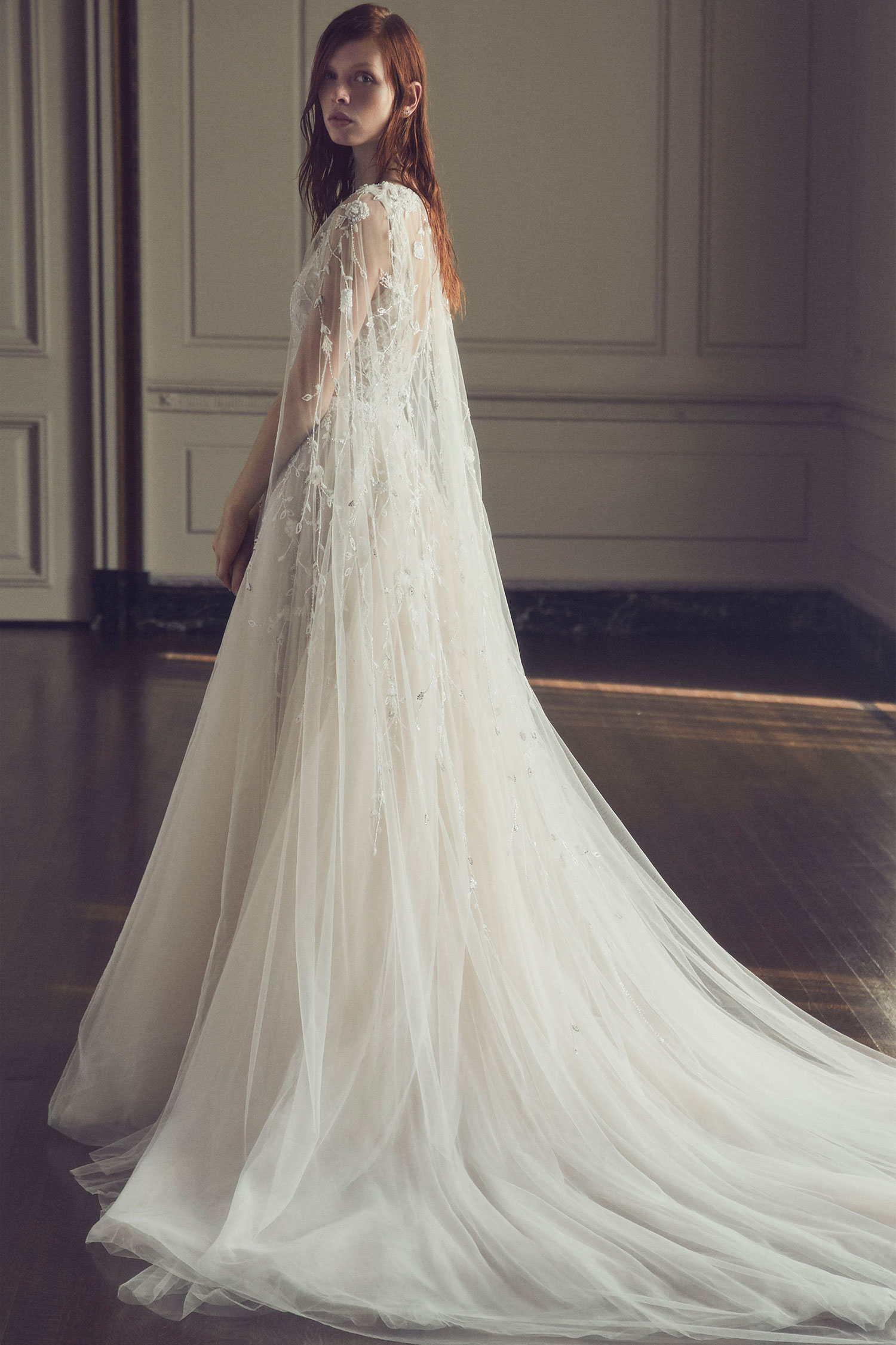 Halloween-inspired wedding dress with cape Meadow by Monique Lhuillier fall 2019