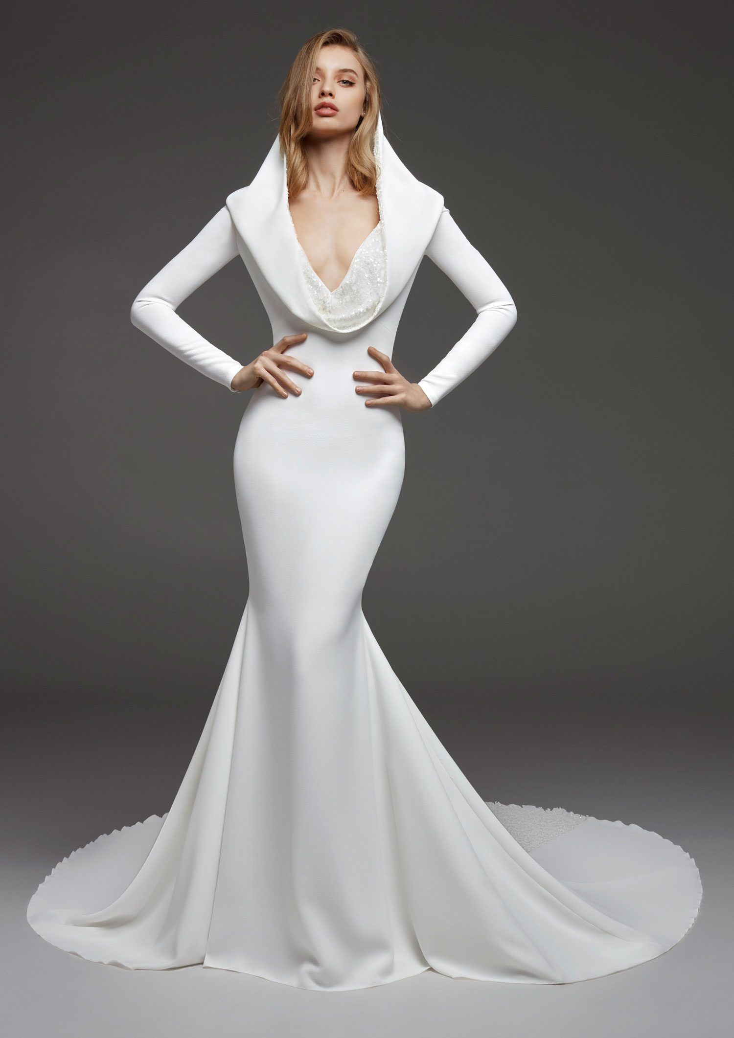 Halloween-inspired wedding dress with hood atelier pronovias fall 2019