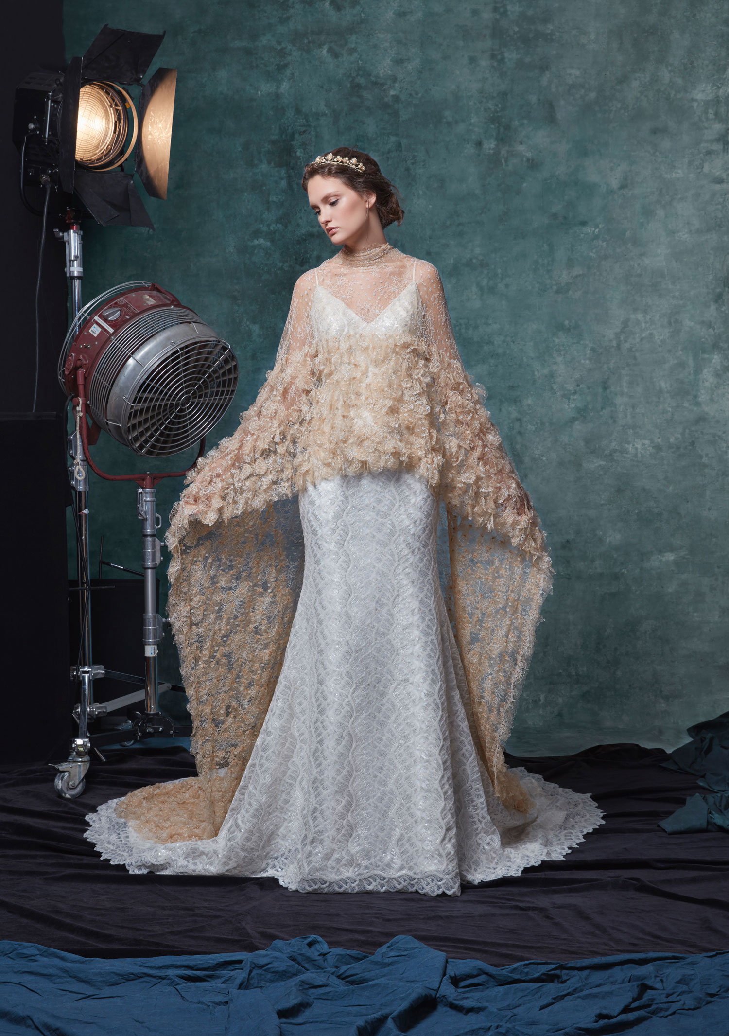 Halloween-inspired wedding dress with cape charlize by sareh nouri fall 2019