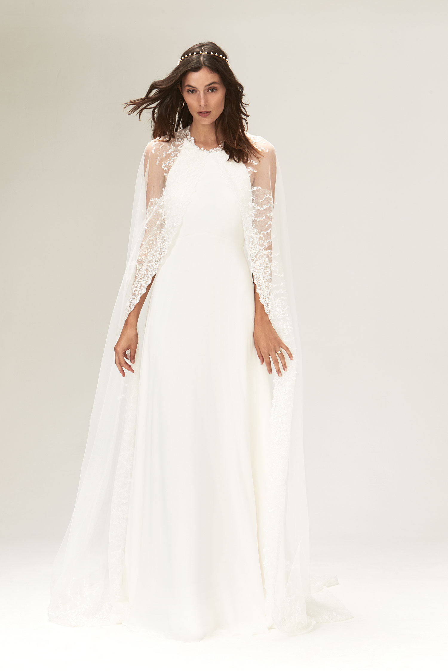 Halloween-inspired wedding dress with cape savannah miller fall 2019