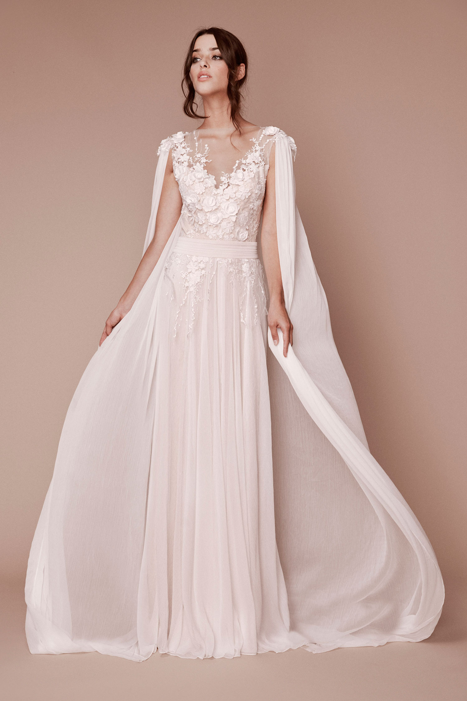 Halloween-inspired wedding dress with cape tadashi shoji fall 2019