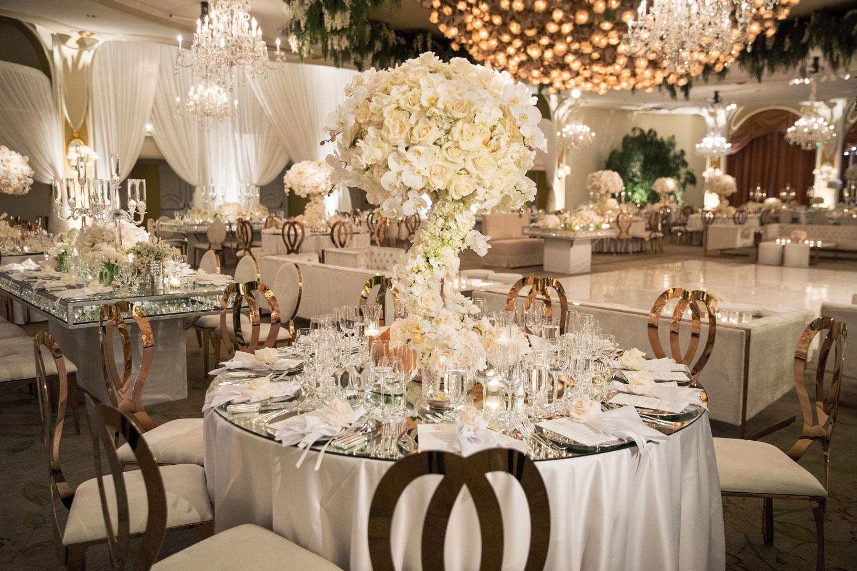 Pretty wedding reception photo cream gold ballroom wedding butterfly floral event design tessa lyn events