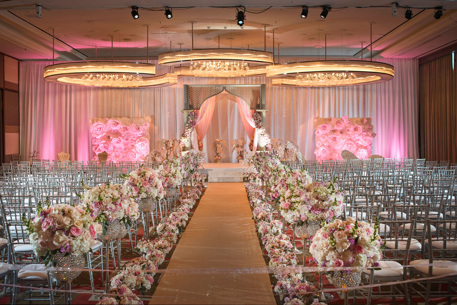 Wedding ceremony drapery ballroom las vegas wedding andrea eppolito events