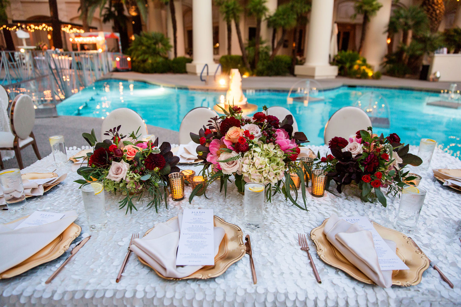Las Vegas wedding reception by pool andrea eppolito events