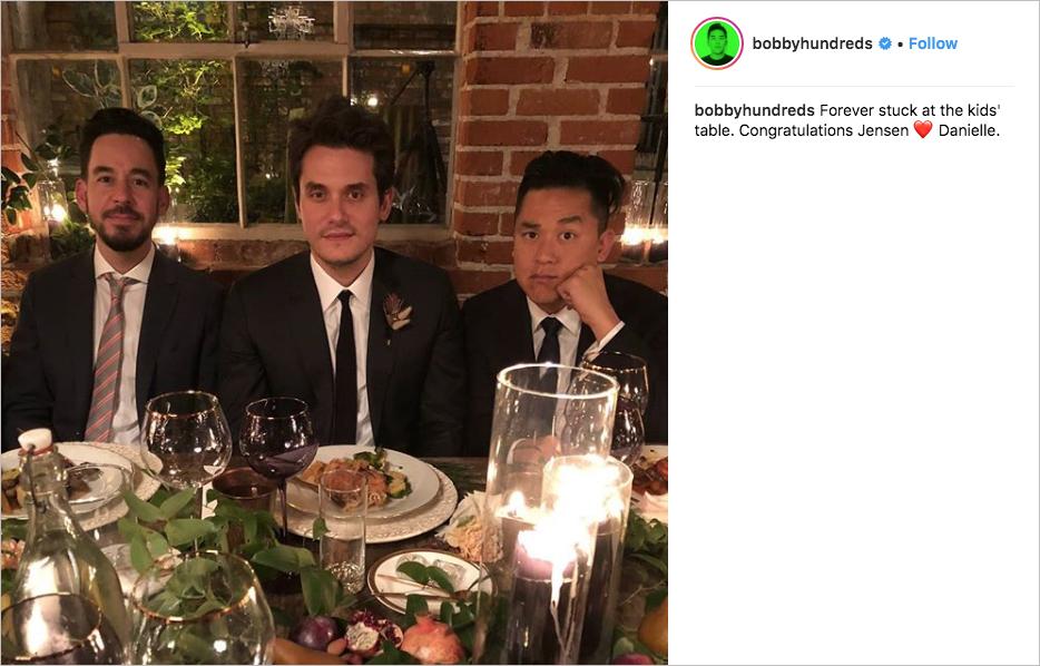 danielle fishel and jensen karp wedding, john mayer groomsman, mike shinoda linkin park