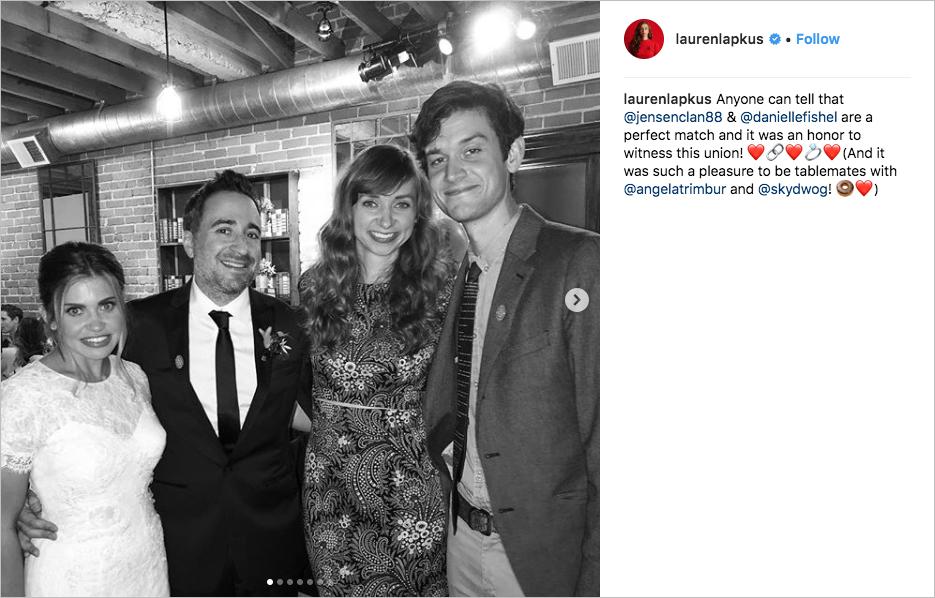 Danielle Fishel and Jensen Karp wedding carondelet house celebrity guests comedian actress lauren lupkus