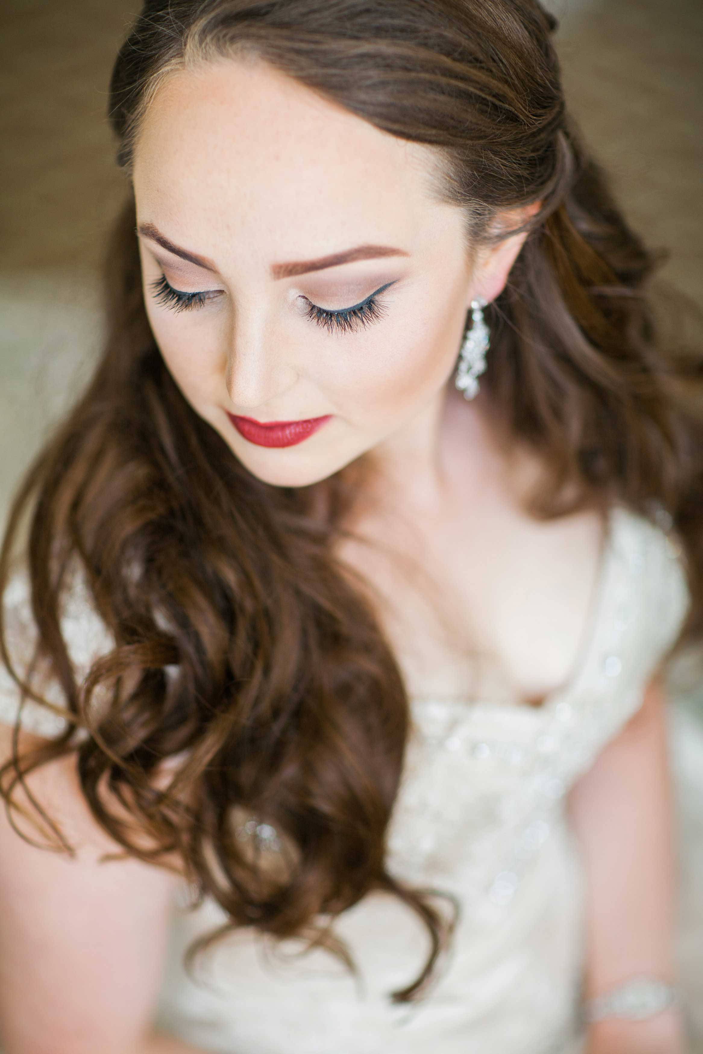 Pretty bride with fall makeup dark lip