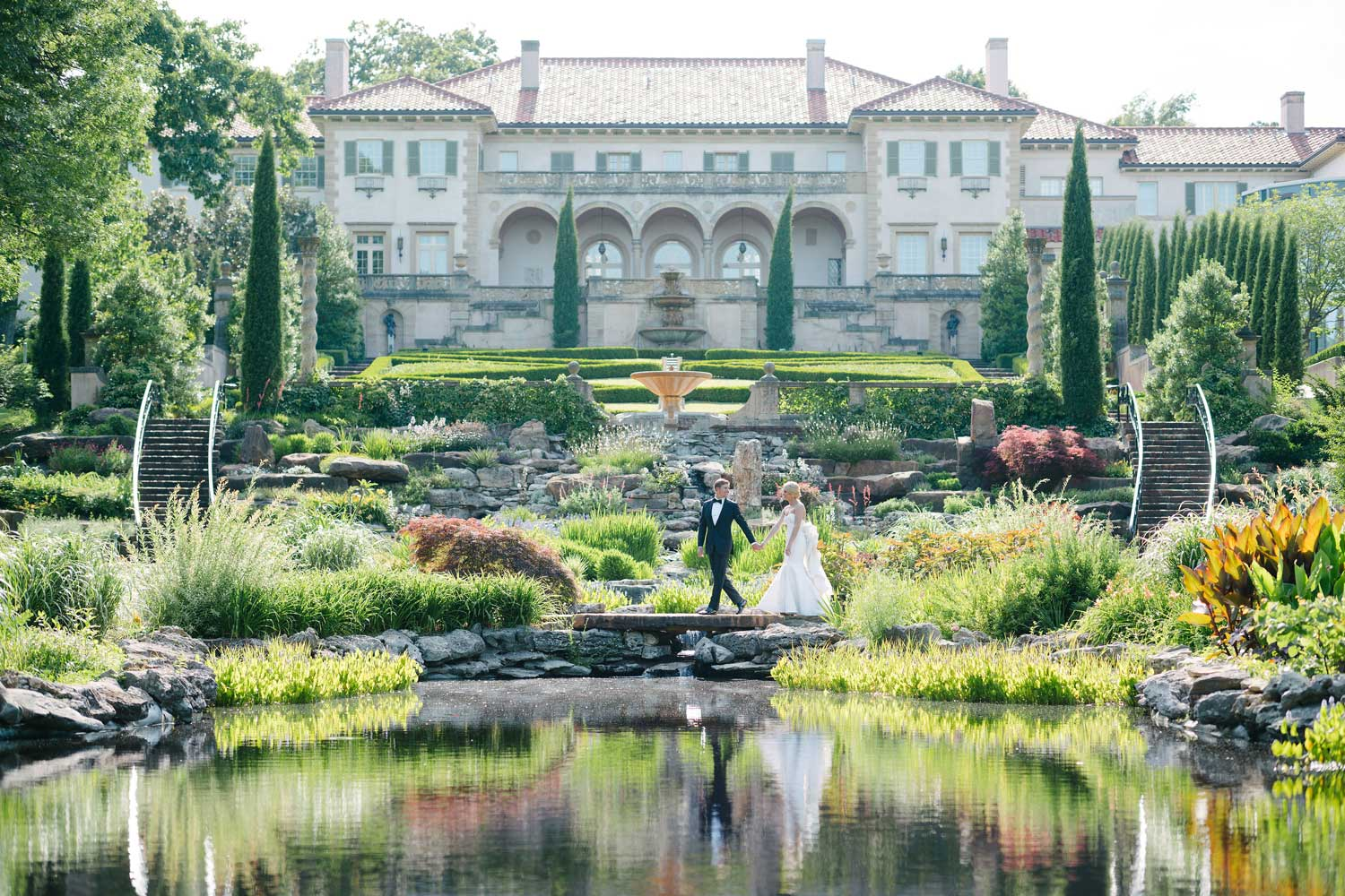 Philbrook Museum of Art wedding portrait landscape museum wedding portrait